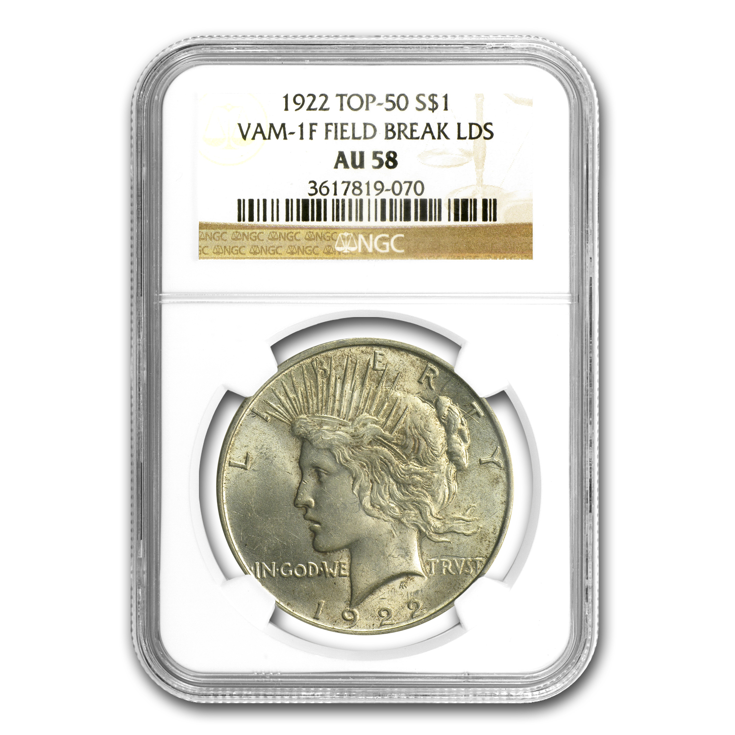 1922 Peace Dollar AU-58 NGC (VAM-1F LDS Field Die Break, Top-50)