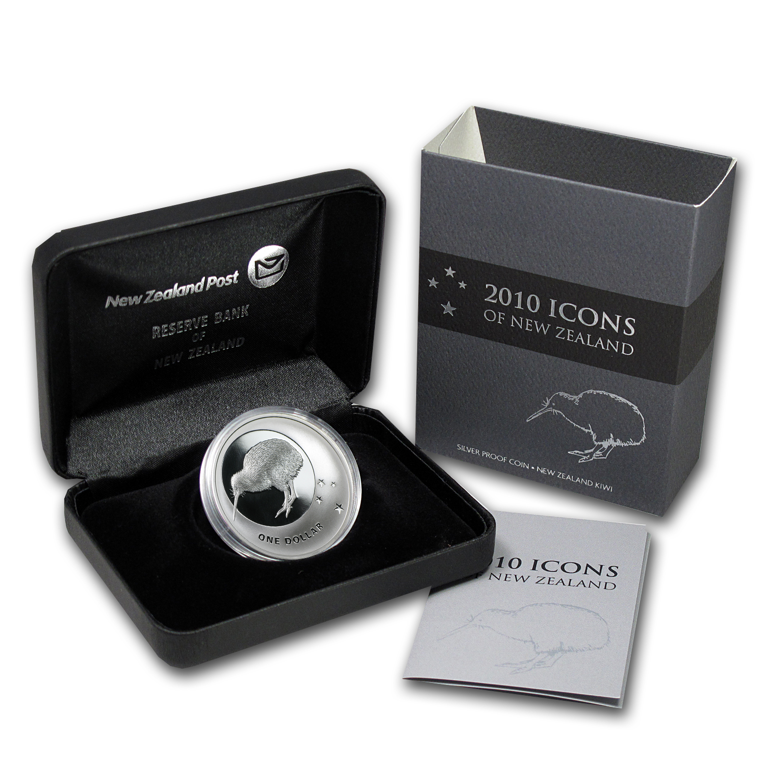2010 New Zealand 1 oz Silver Icons $1 Kiwi & Southern Cross Prf