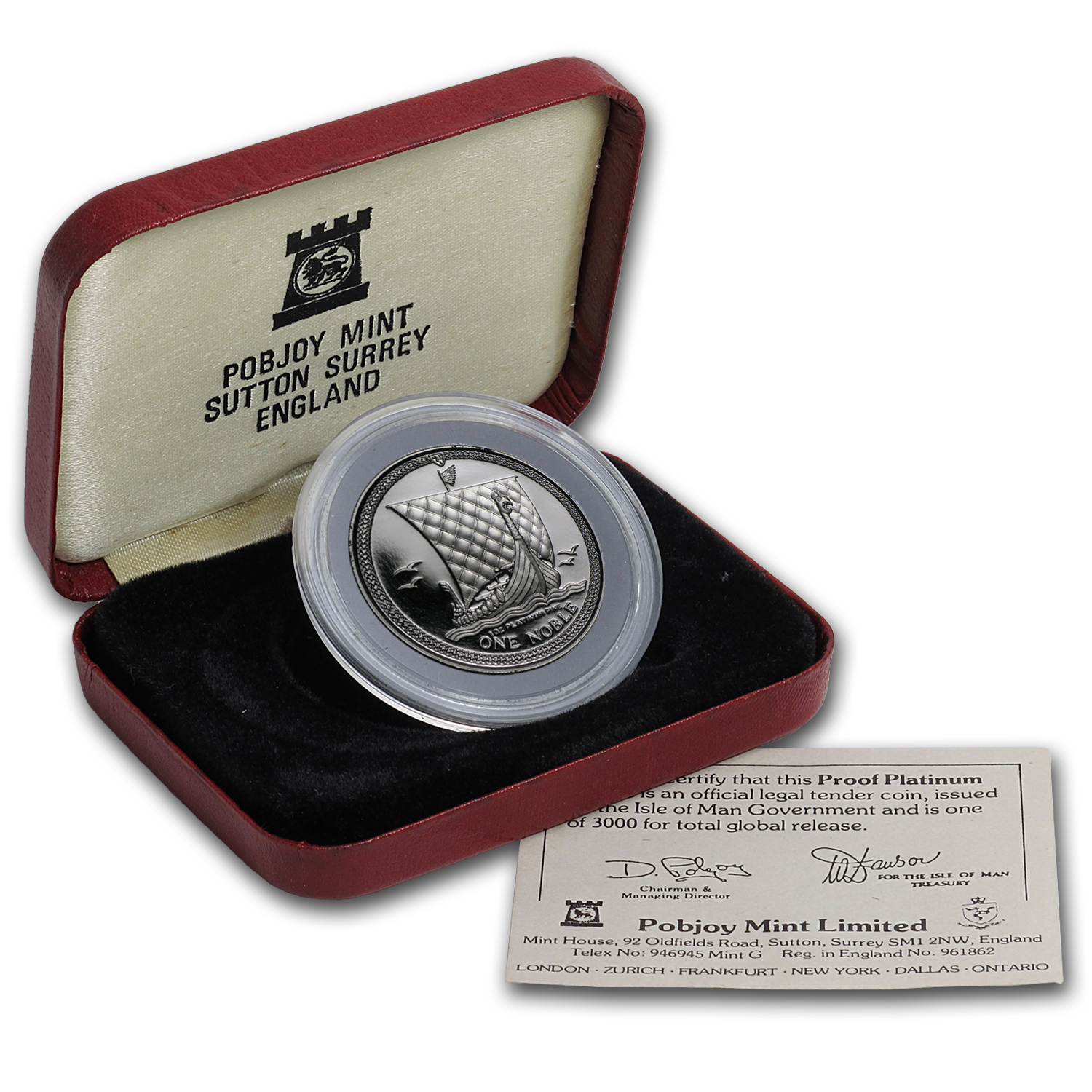 1985 Isle of Man 1 oz Proof Platinum Noble (w/Box & COA)