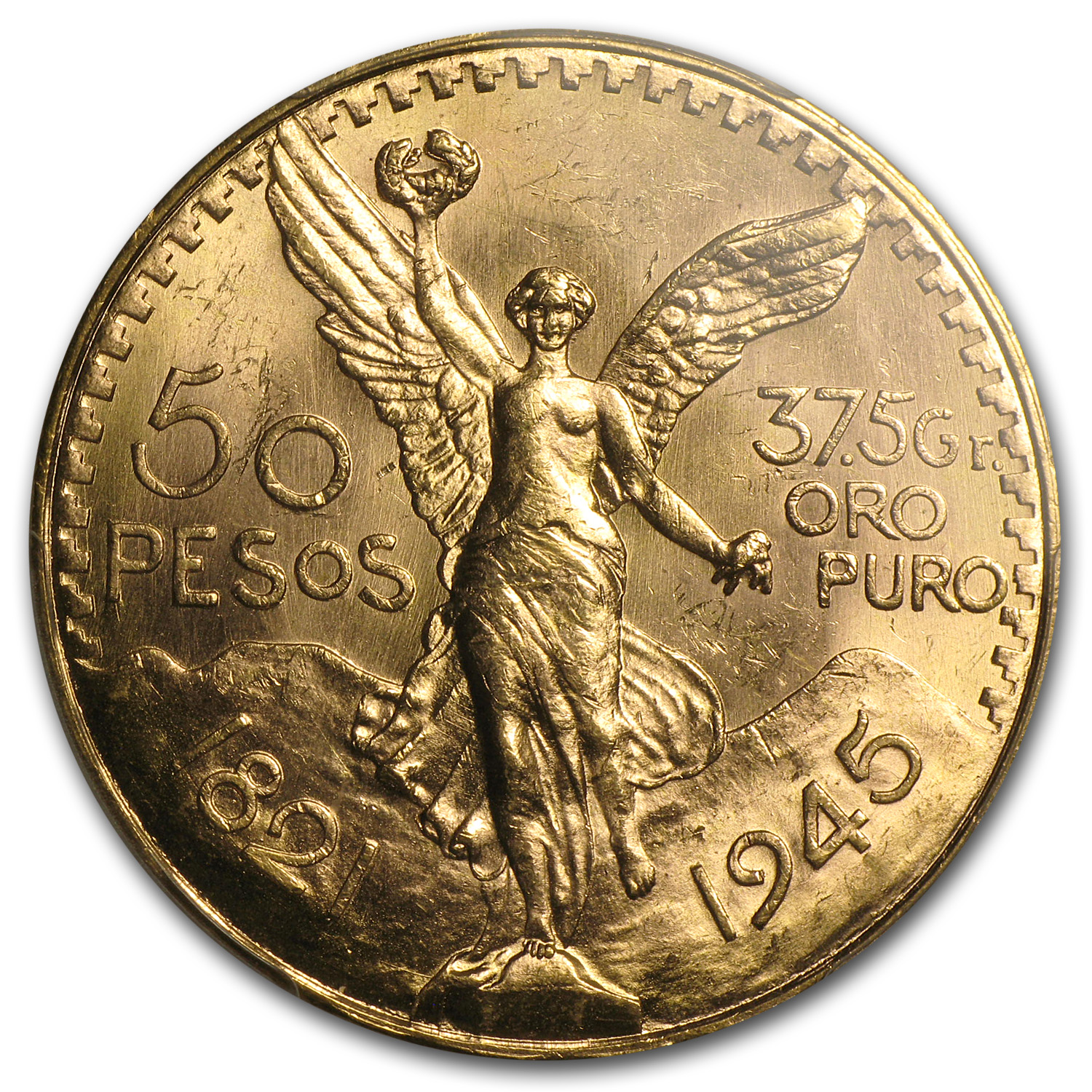 Mexico 1945 50 Pesos Gold MS-64 PCGS