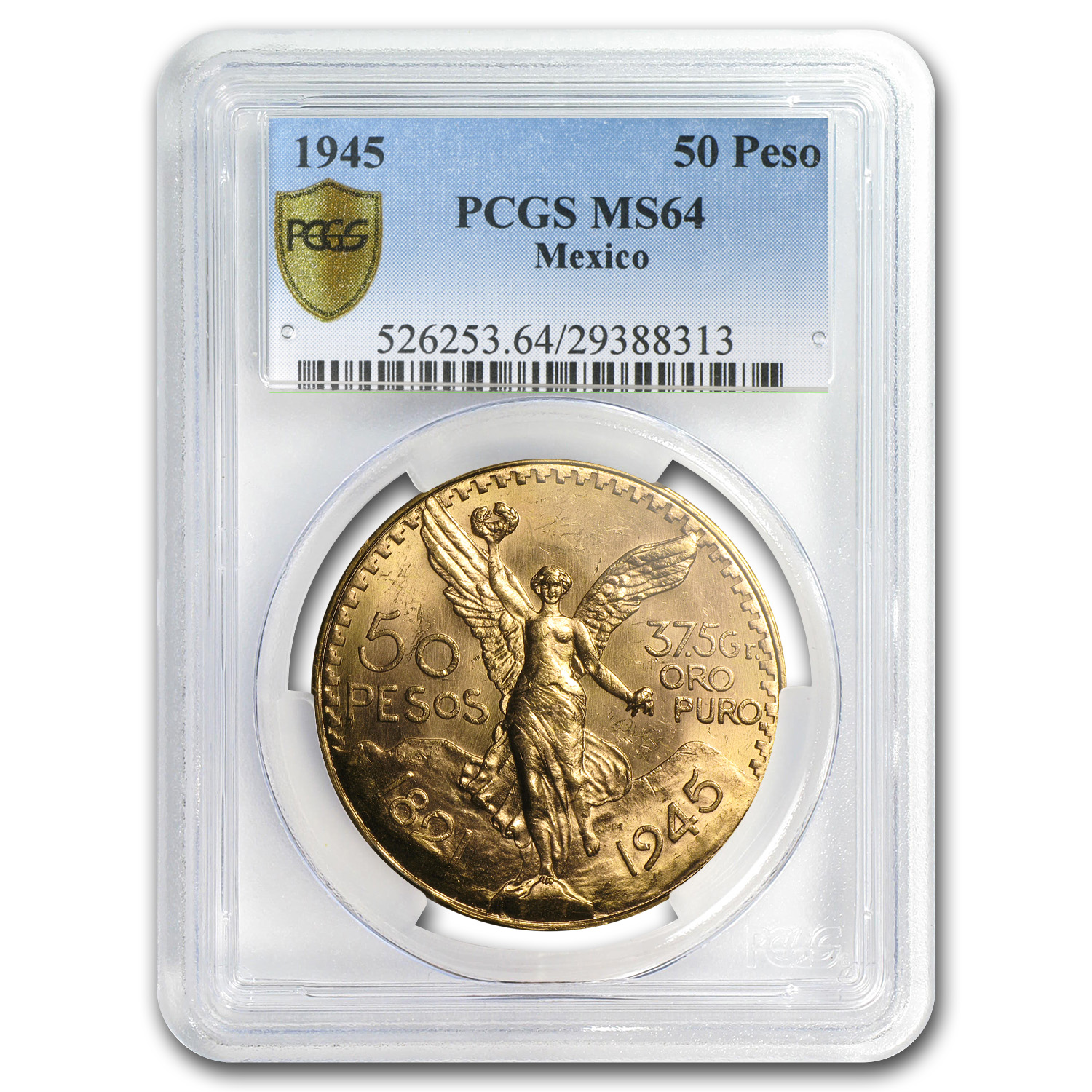 1945 Mexico Gold 50 Pesos MS-64 PCGS