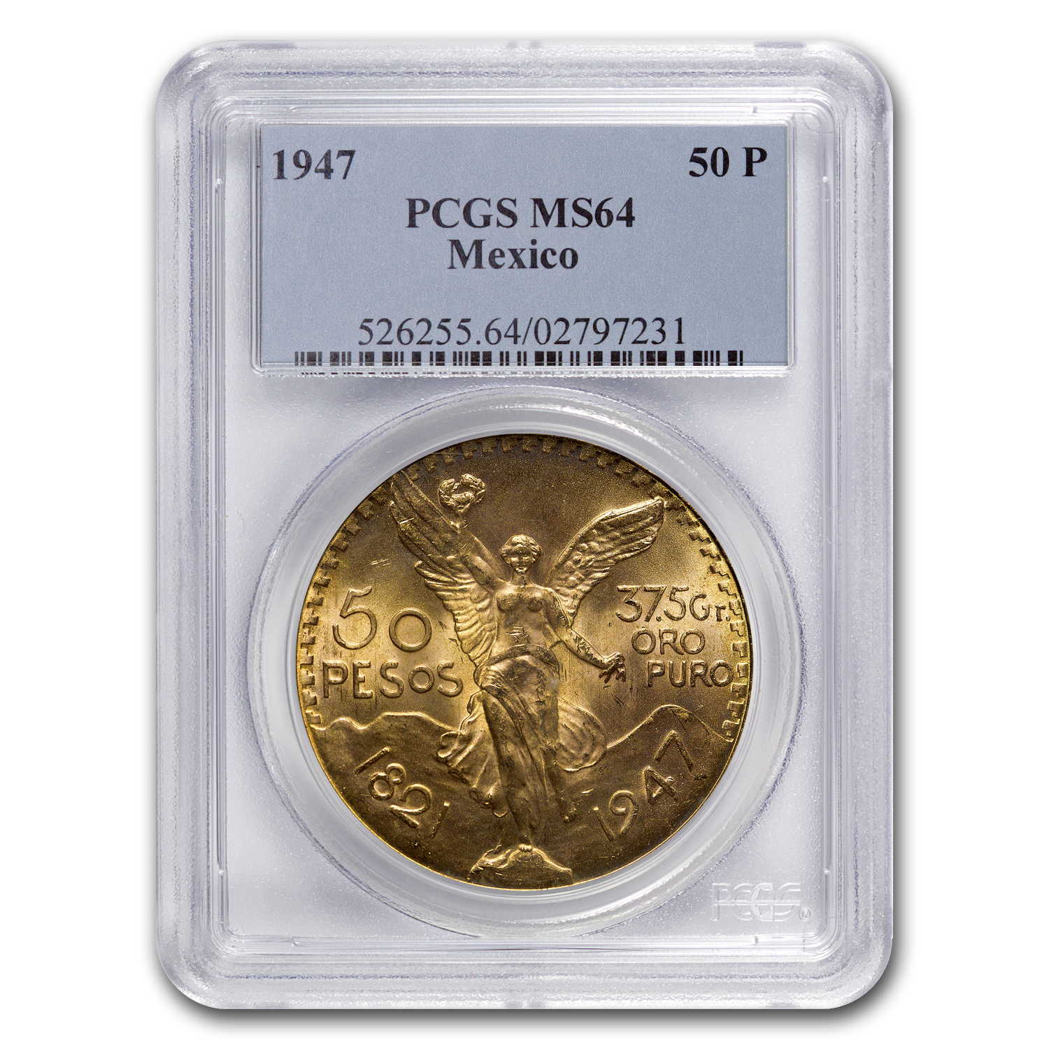 1947 Mexico Gold 50 Pesos MS-64 PCGS