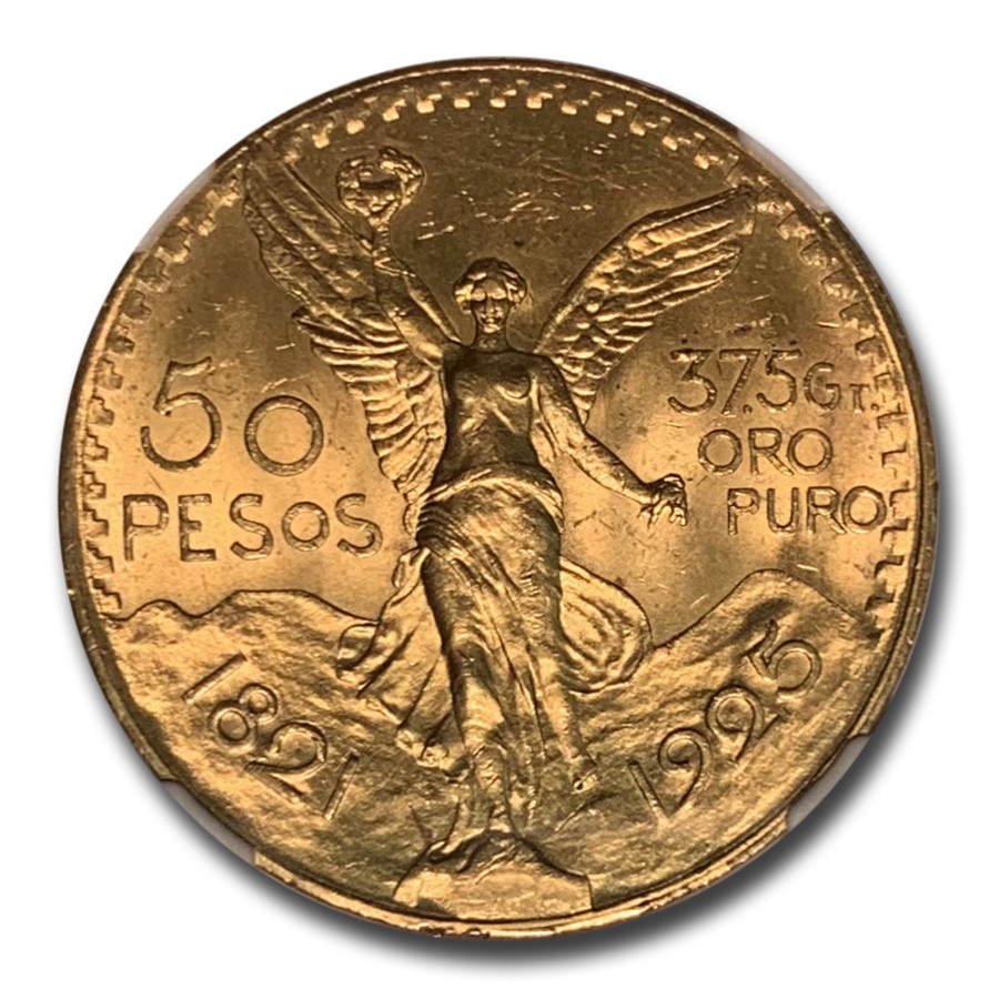 Mexico 1925 50 Pesos Gold Coin - MS-64 NGC