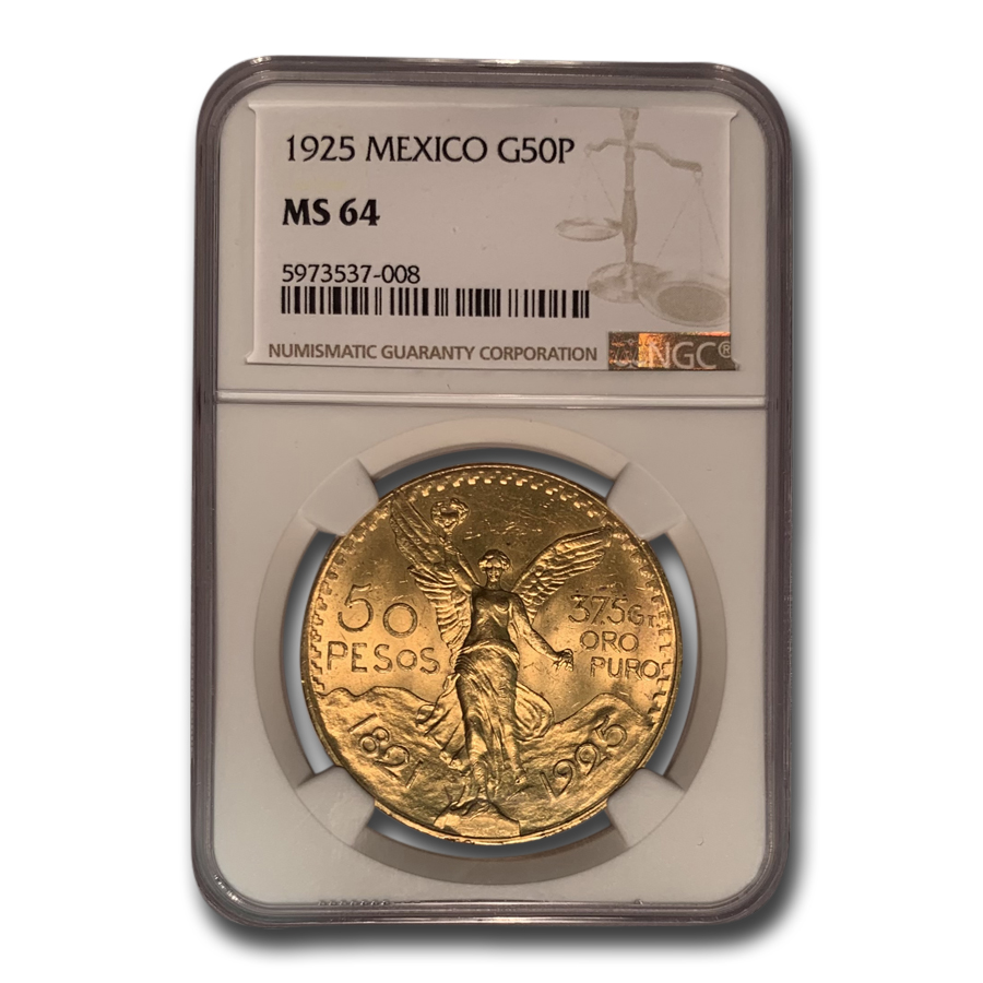 Mexico 1925 50 Pesos Gold MS-64 NGC