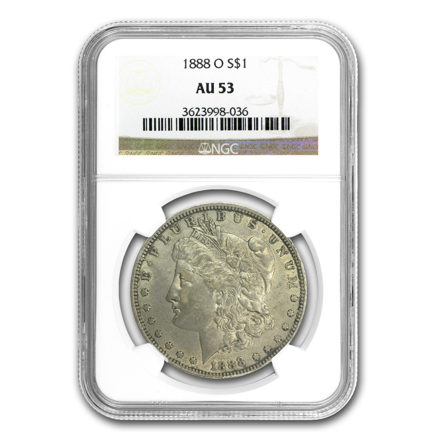 1888-O AU-53 NGC (VAM-1B, Early Scarface Die State, Top-100)