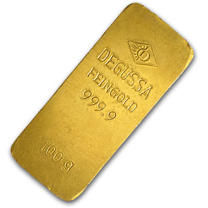 100 gram Gold Bar - Degussa (Stamped)