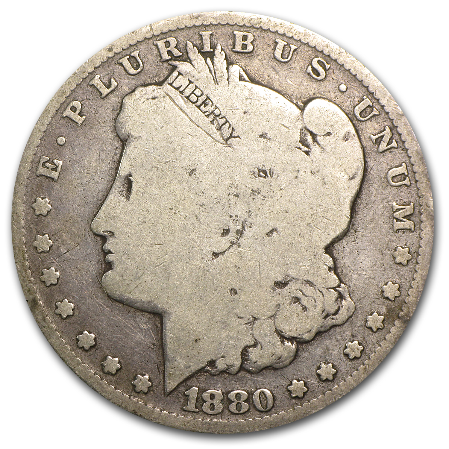 1880 Morgan Dollar Knobbed 8 Good (VAM-1A, Top-100)