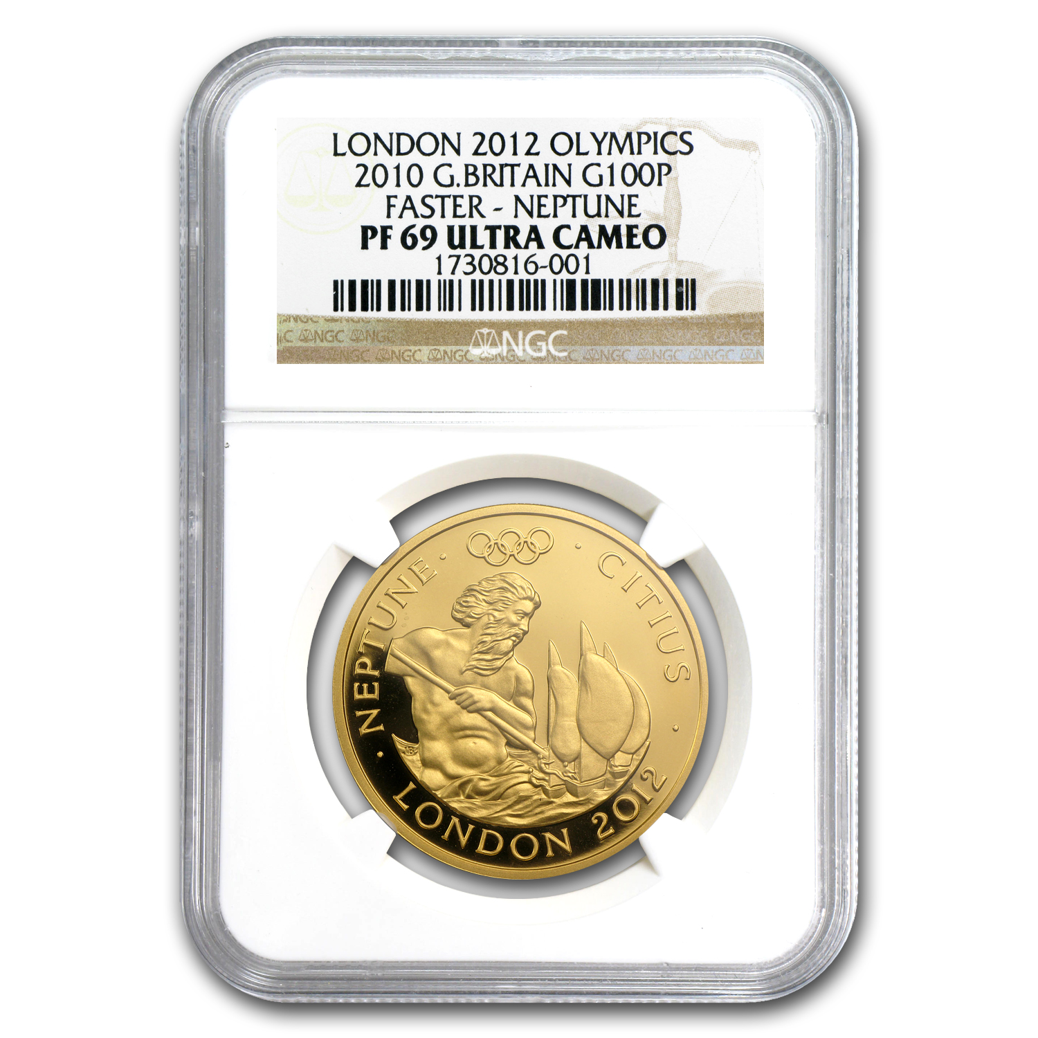 2010 Great Britain £100 Gold Faster Neptune - PF-69 UCAM NGC