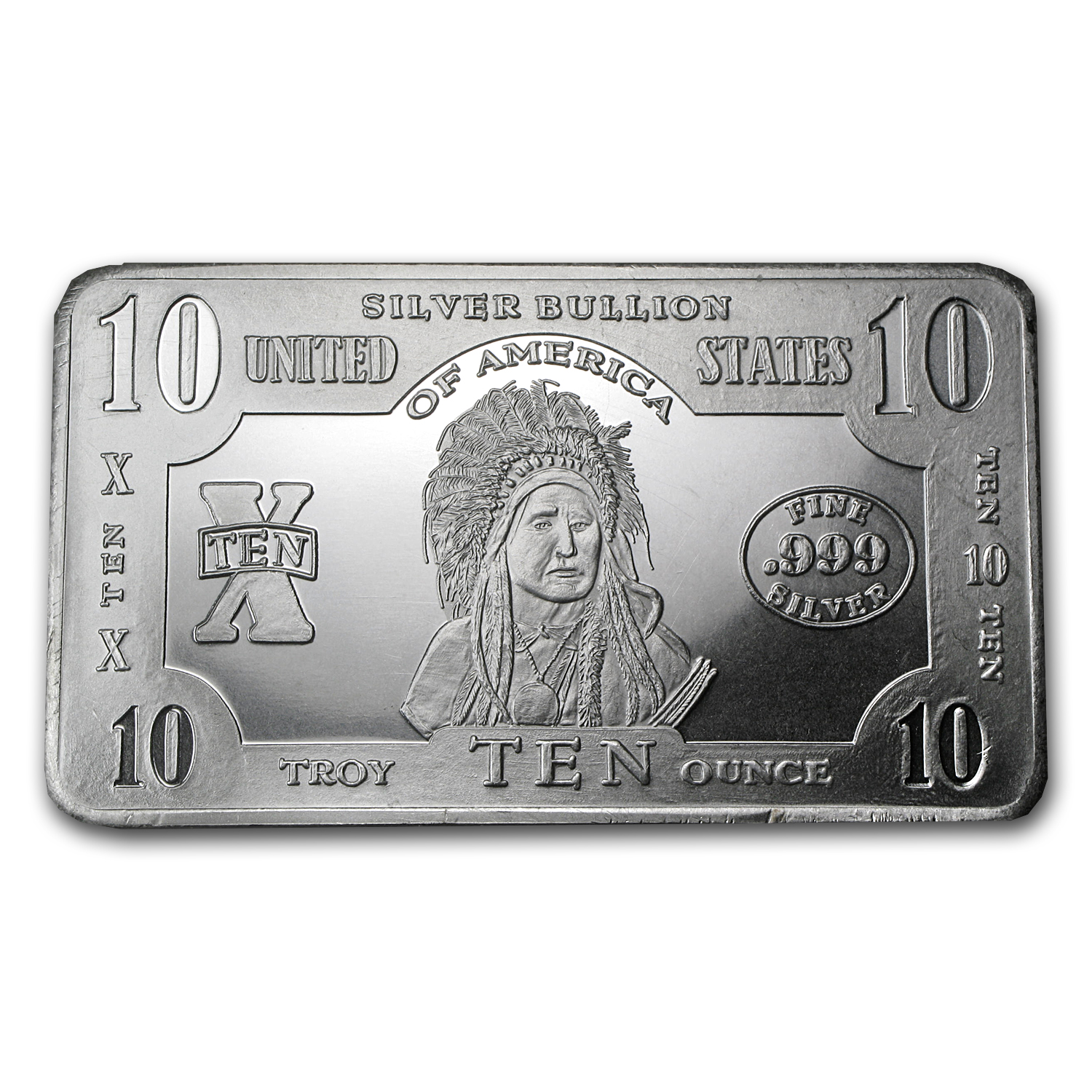 10 oz Silver Bar - Indian Chief Note