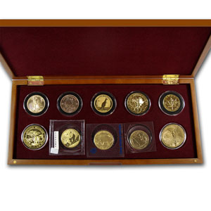 2012 10-Coin 1 oz Gold Around the World Bullion Set BU