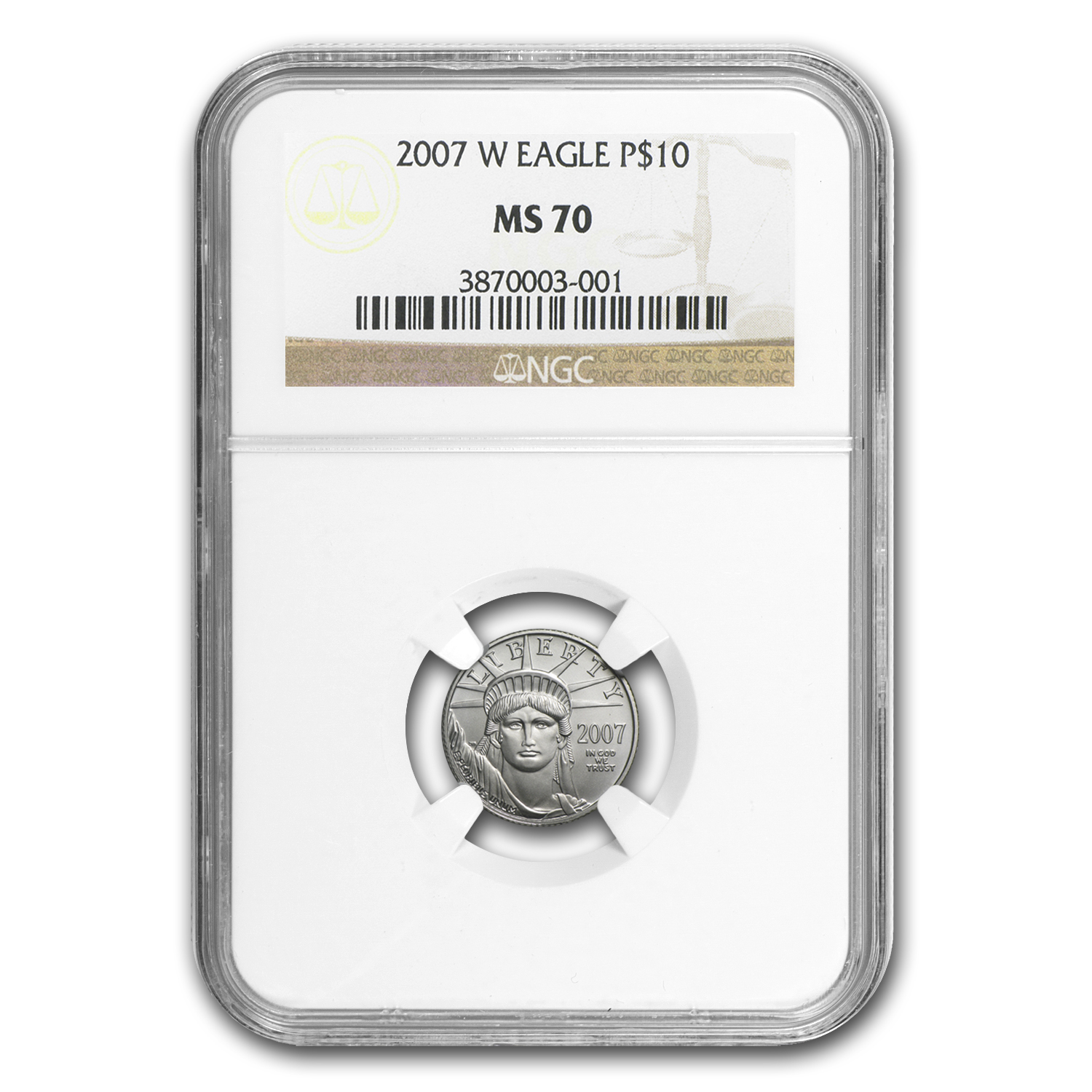 2007-W 1/10 oz Burnished Platinum American Eagle MS-70 NGC