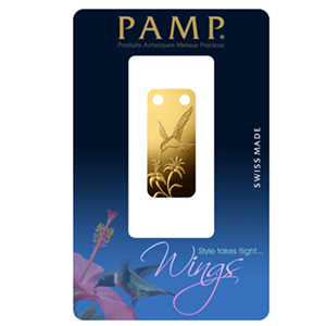 1/5 oz Gold Pendant - Pamp Suisse Ingot (Hummingbird, Proof)