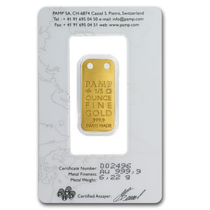 1/5 oz Gold Pendants - Pamp Suisse Ingot (Butterfly, Proof)