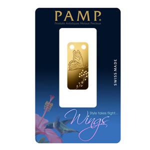 1/5 oz Gold Pendant - Pamp Suisse Ingot (Butterfly, Proof)