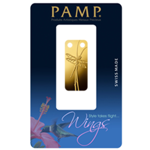 1/5 oz Gold Pendants - Pamp Suisse Ingot (Dragonfly, Proof)
