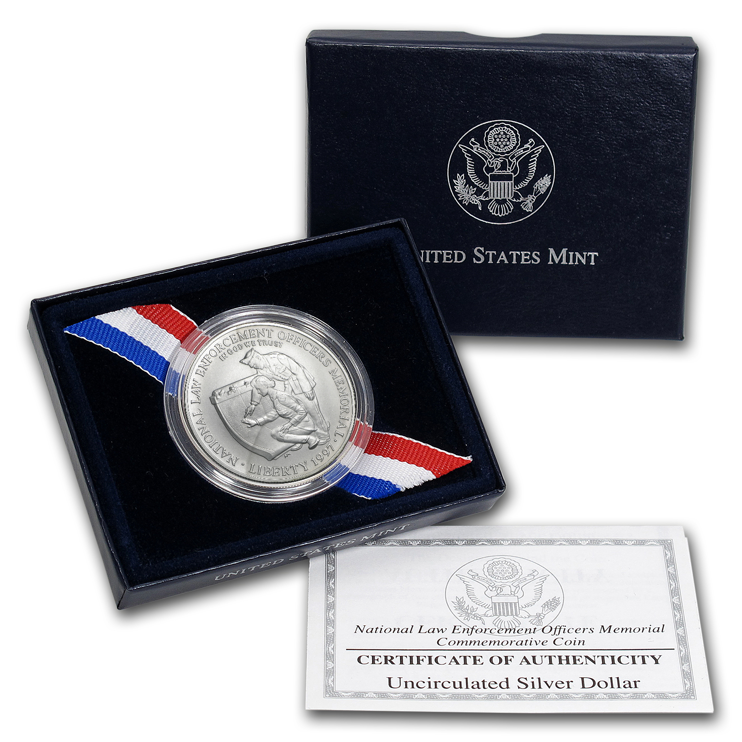1997-P Law Enforcement $1 Silver Commem BU (w/Box & COA)