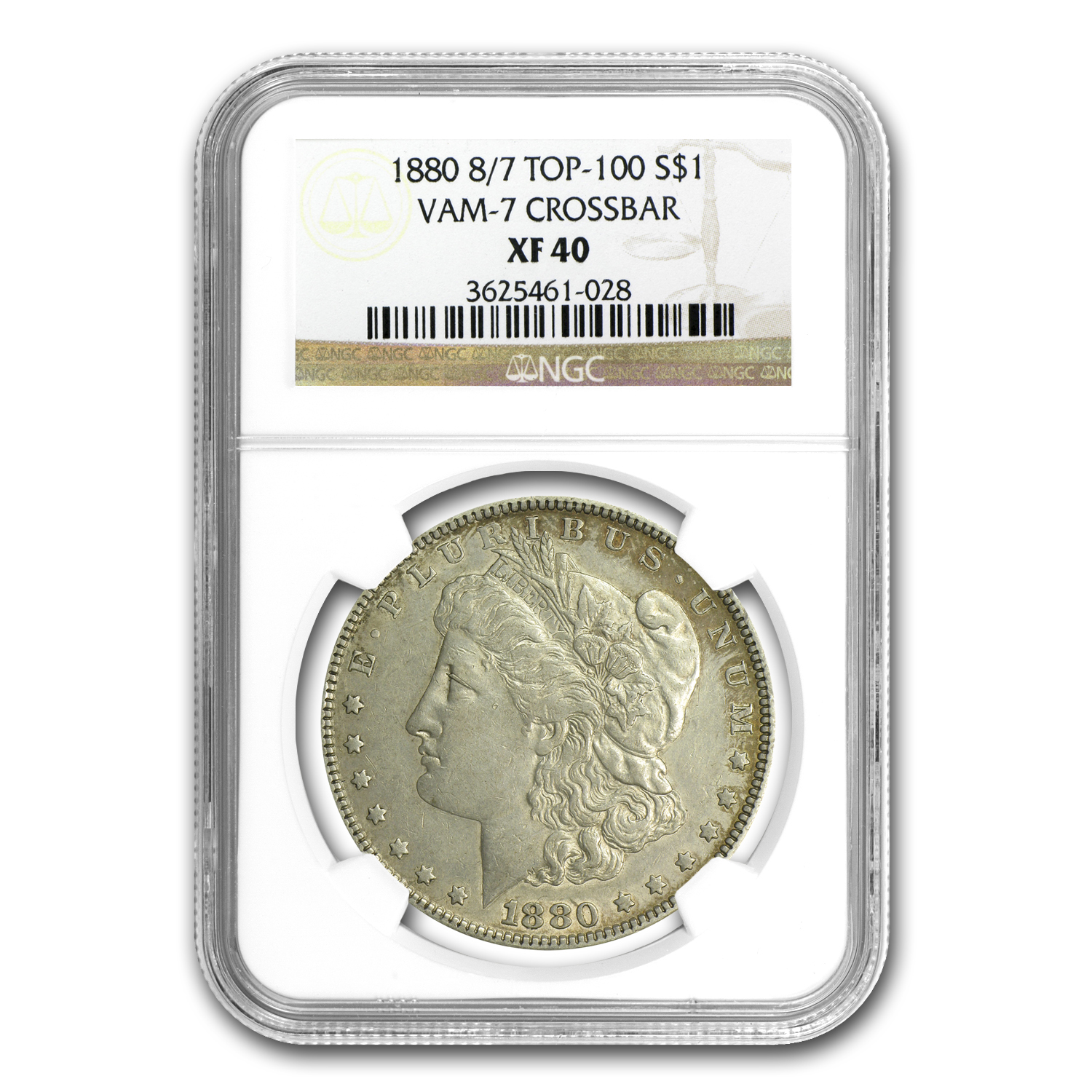 1880 Morgan Dollar XF-40 NGC (VAM-7, 8 over 7 Crossbar)