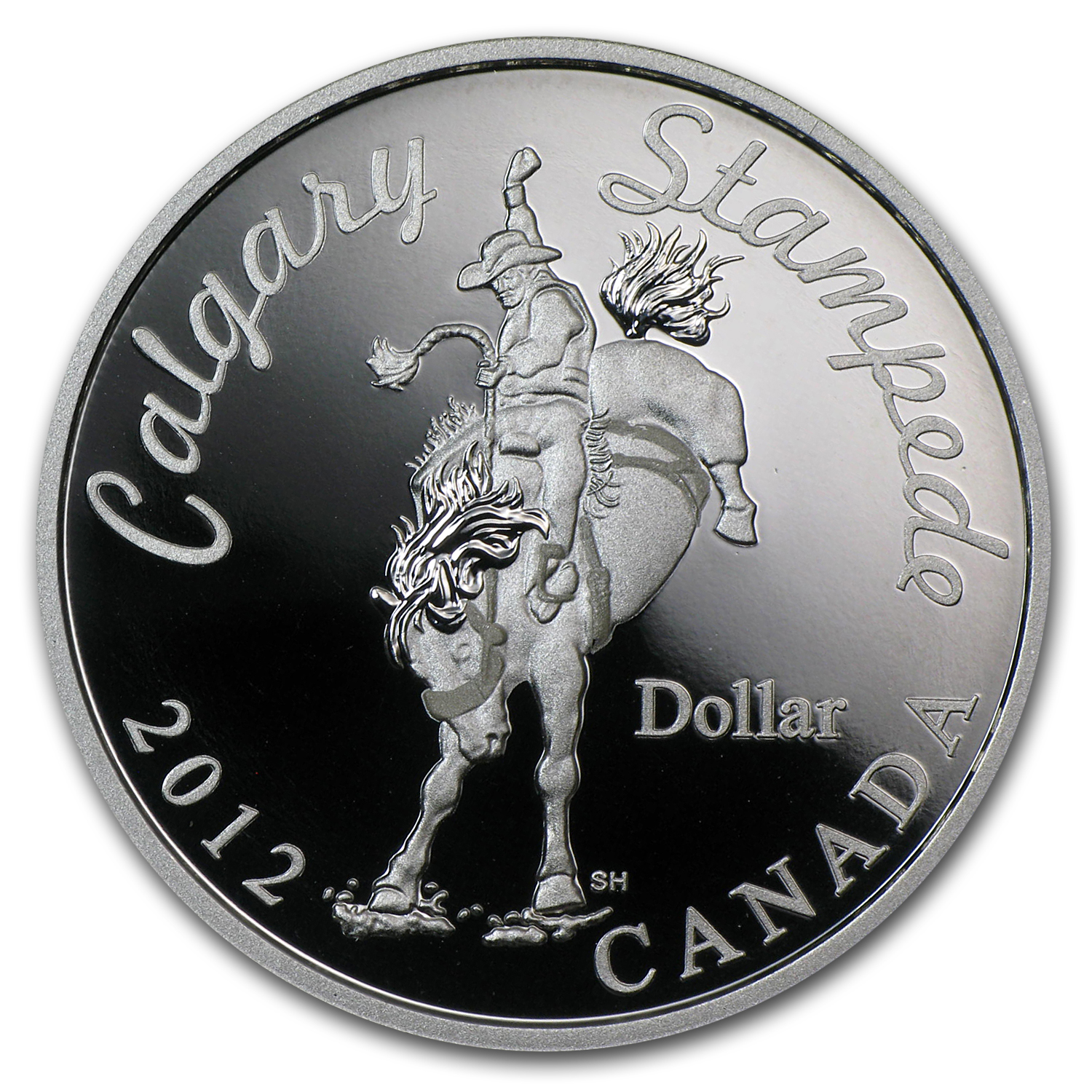 2012 Silver Canadian $1 Calgary Stampede Bucking Bronco