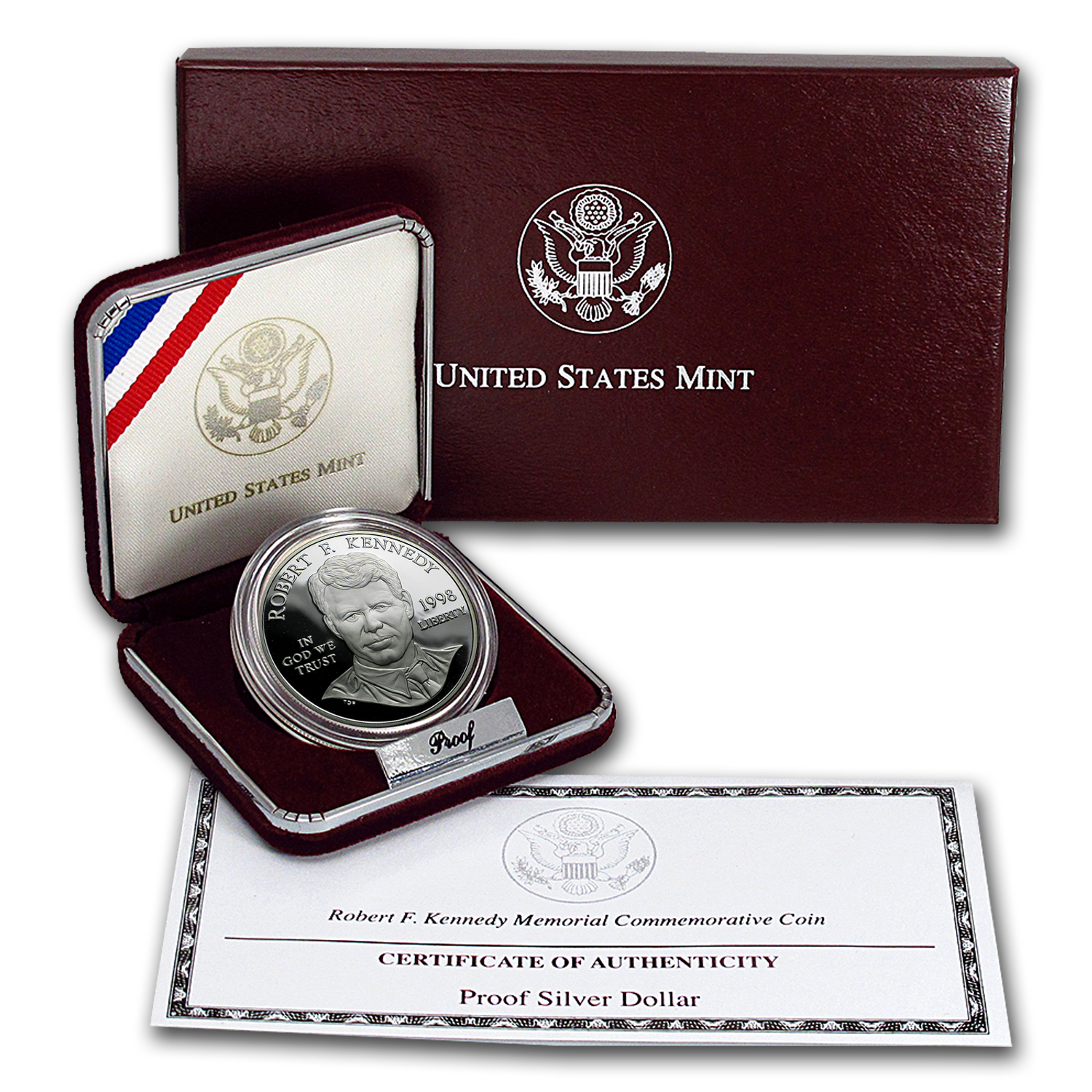 1998-S Robert F. Kennedy $1 Silver Commem Proof (w/Box & COA)