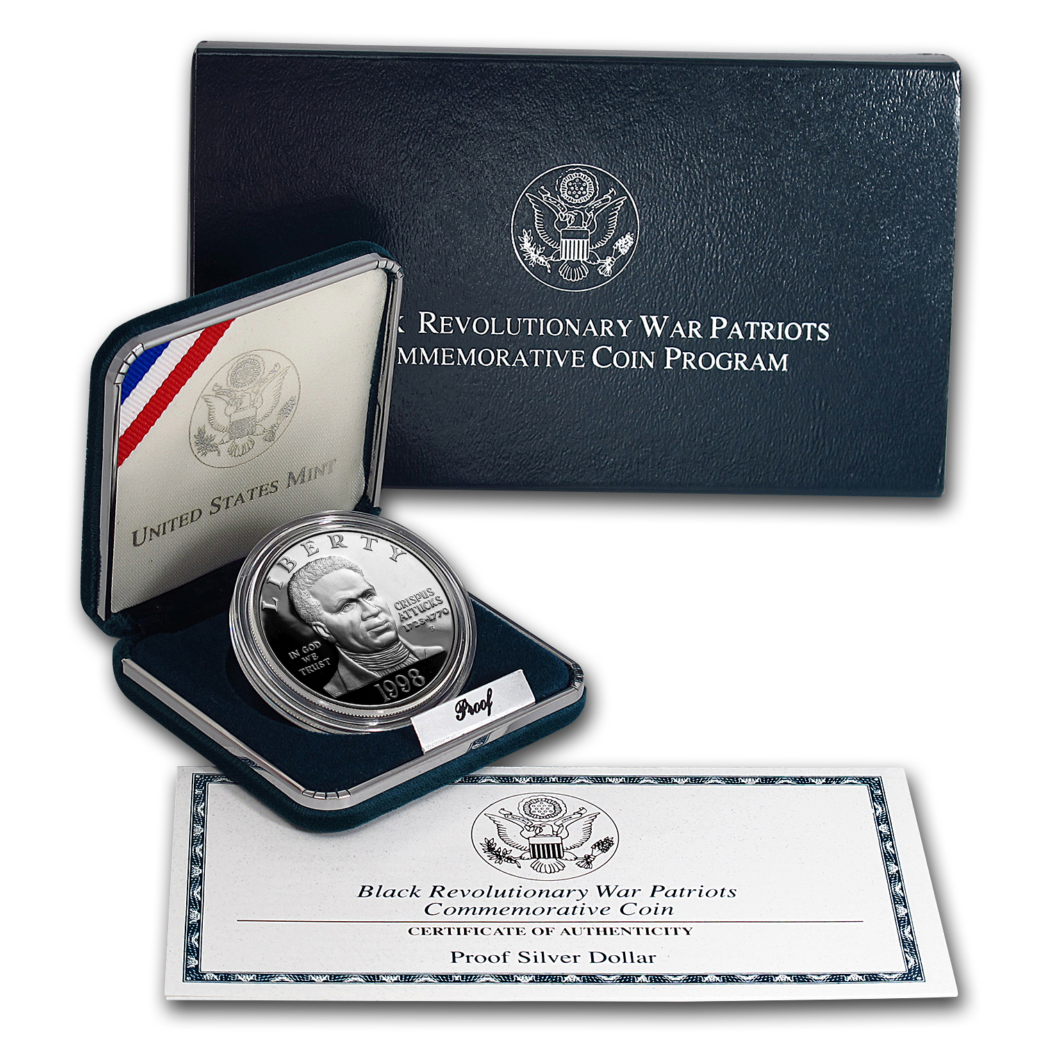 1998-S Black Patriots $1 Silver Commem Proof (w/Box & COA)