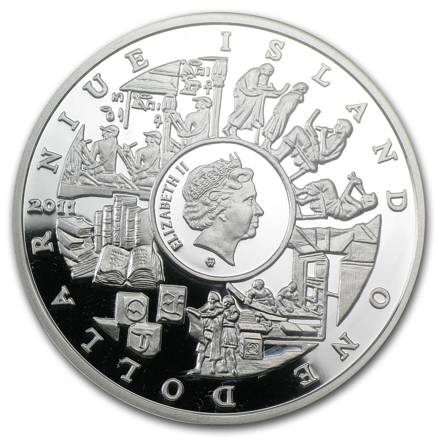 Niue 2011 Proof Silver $1 Mankind's Crucial Achievements -Writing