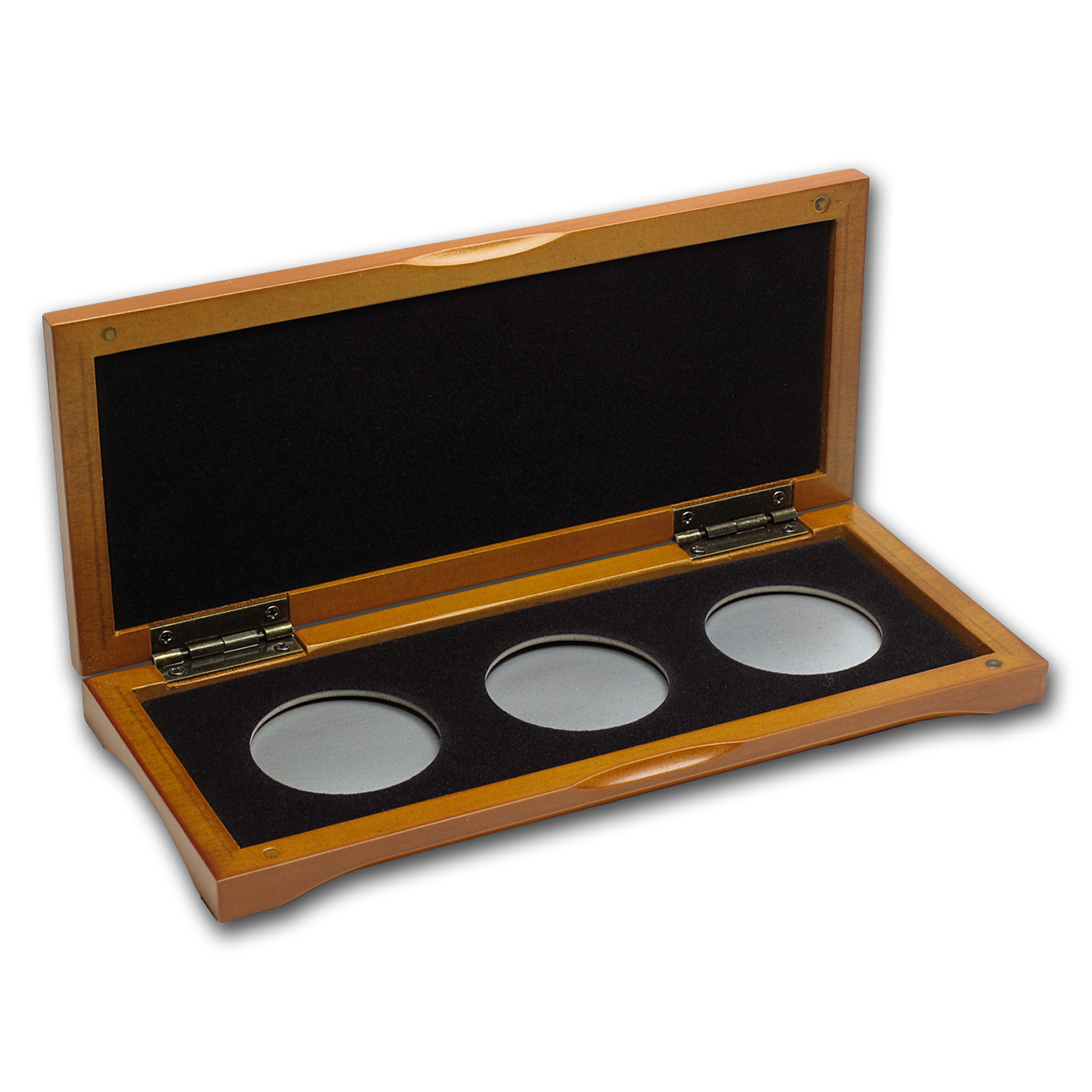 3 coin Wood Presentation Box - Fits Up to 40mm