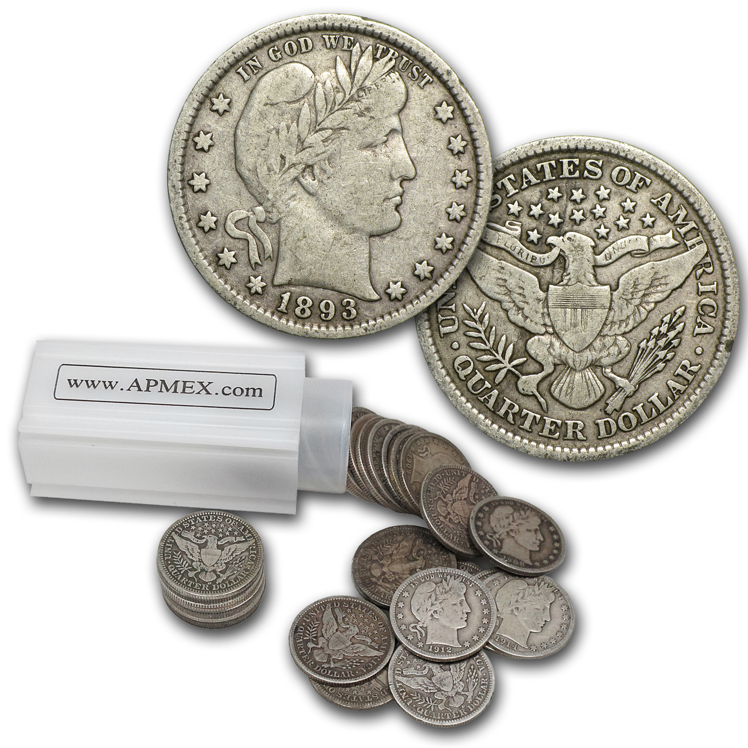 90% Silver Barber Quarters $10 40-Coin Roll Fine+