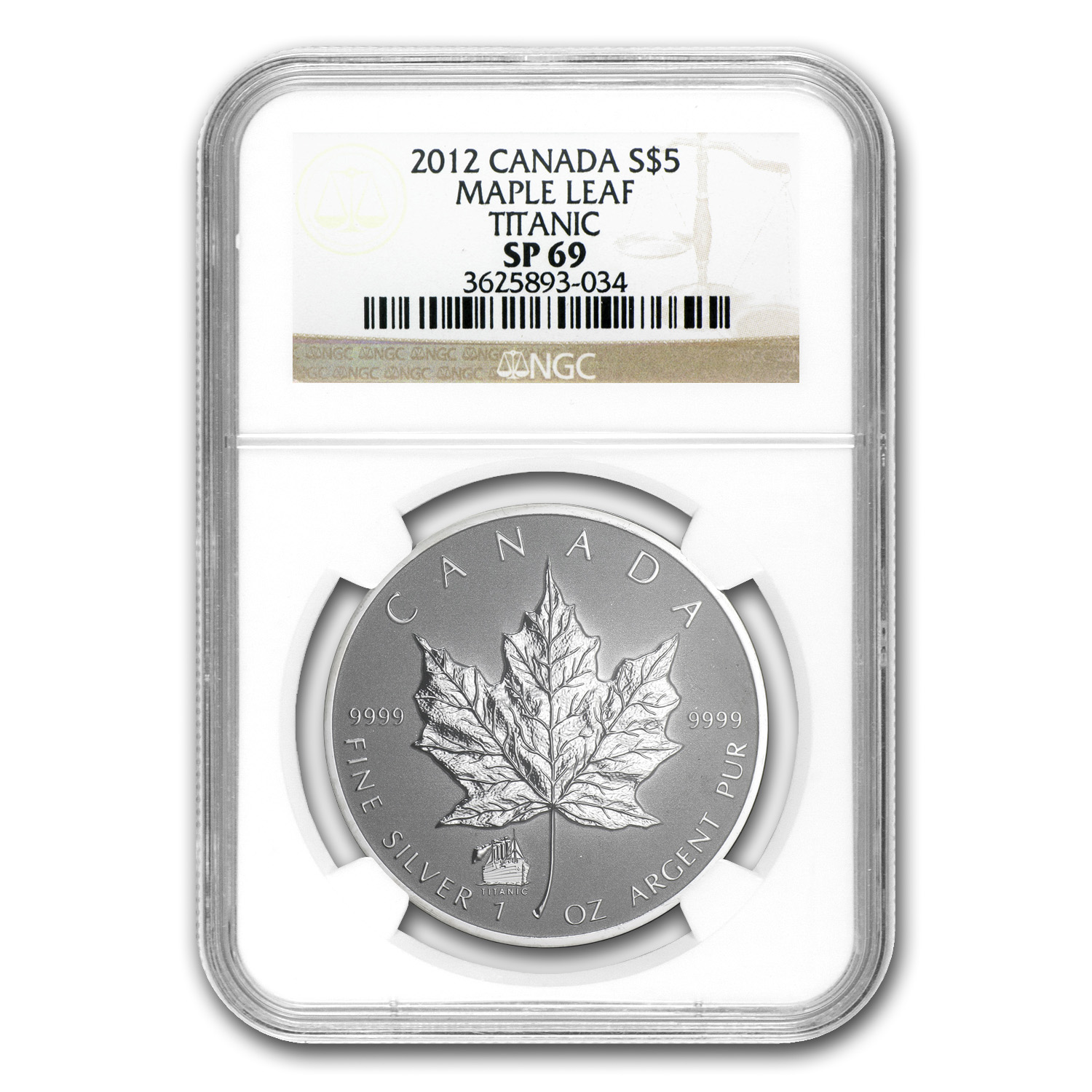 2012 1 oz Silver Canadian Maple Leaf Titanic Privy SP-69 NGC