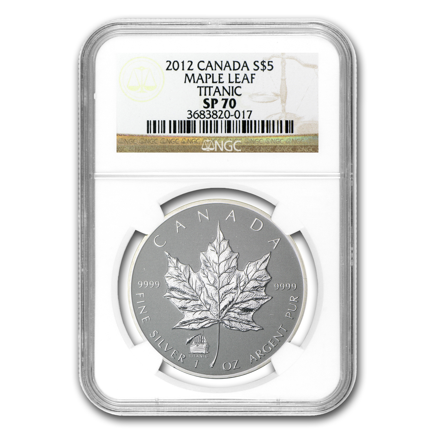 2012 1 oz Silver Canadian Maple Leaf Titanic Privy SP-70 NGC