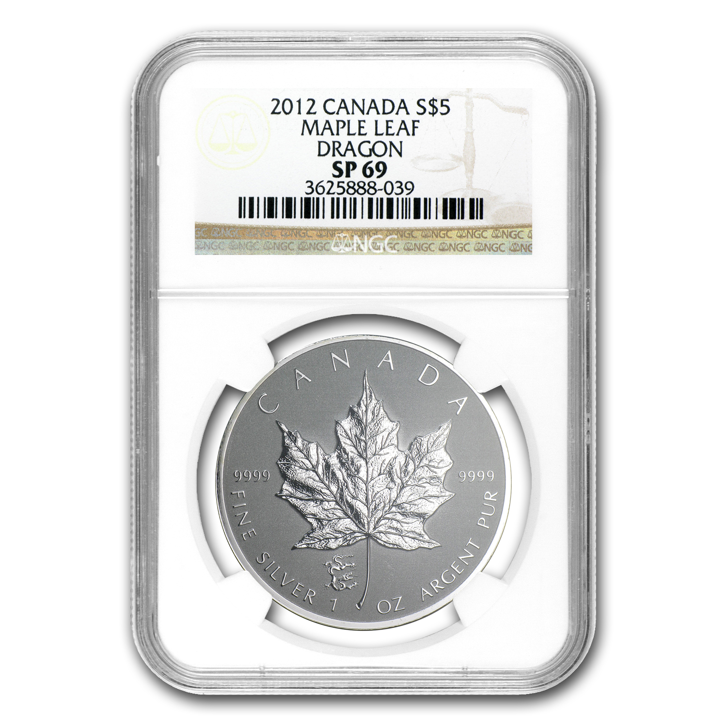 2012 Canada 1 oz Silver Maple Leaf Dragon Privy SP-69 NGC
