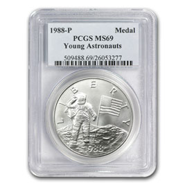 1988 Young Astronauts Silver Medal Ms 69 Pcgs Us