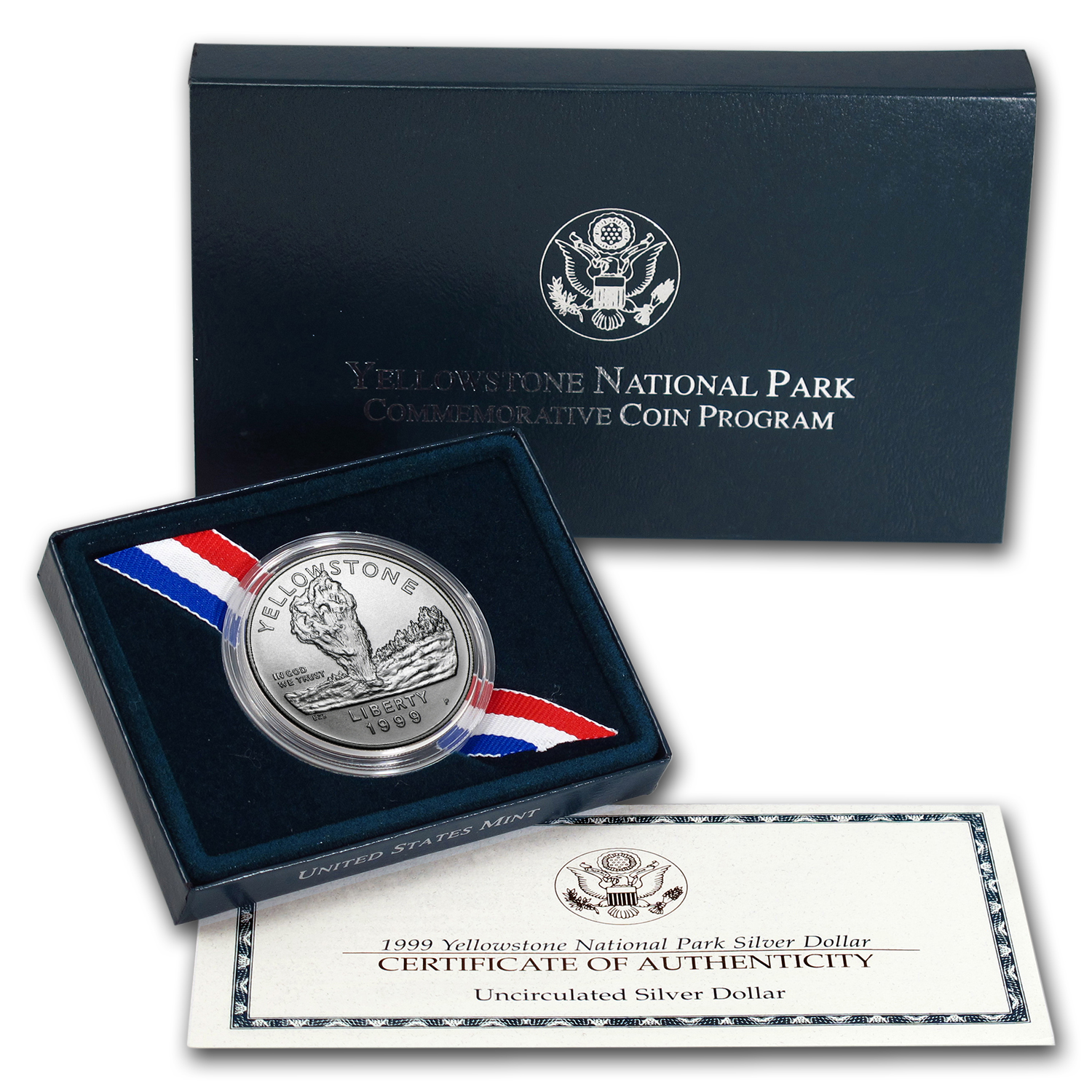 1999-P Yellowstone Park $1 Silver Commem BU (w/Box & COA)
