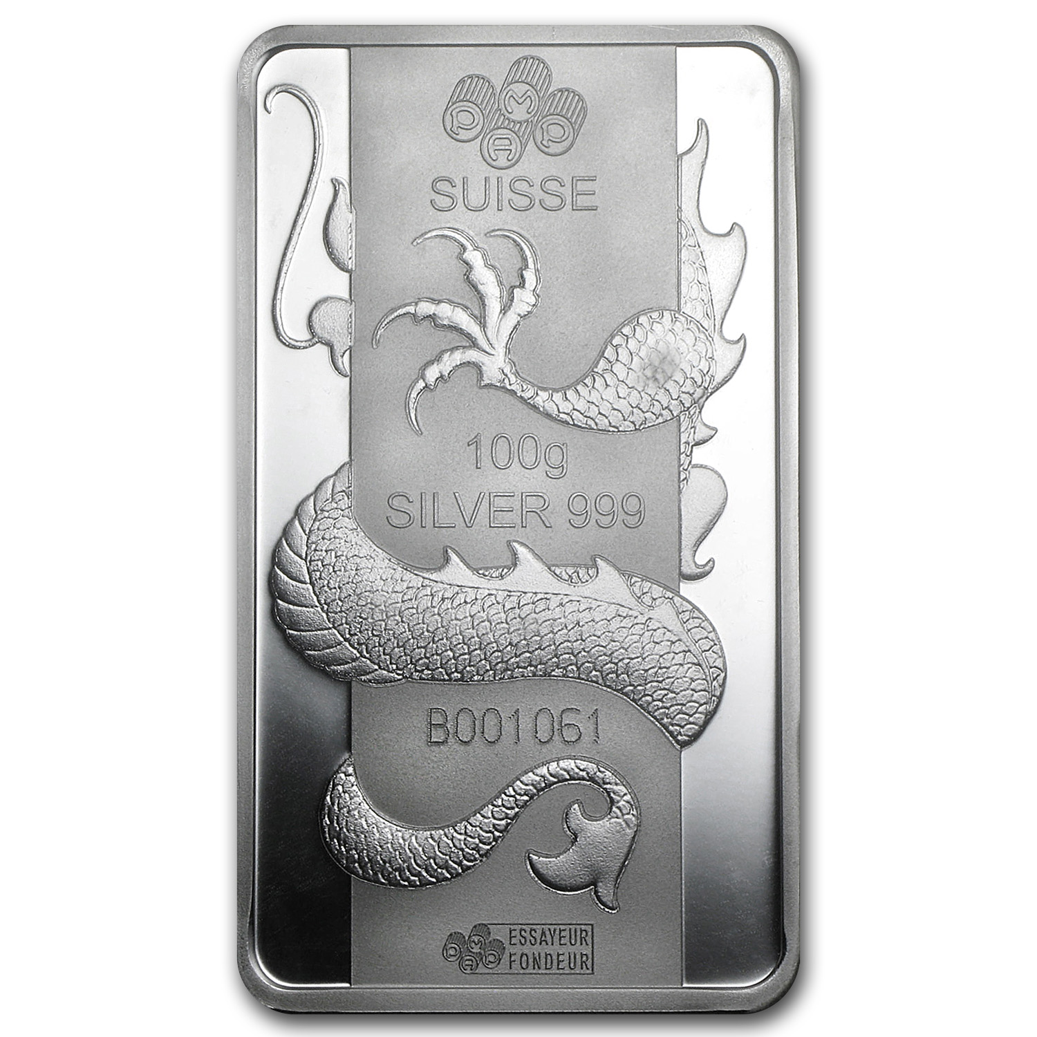100 gram Silver Bar - Pamp Year of the Dragon (Secondary Market)