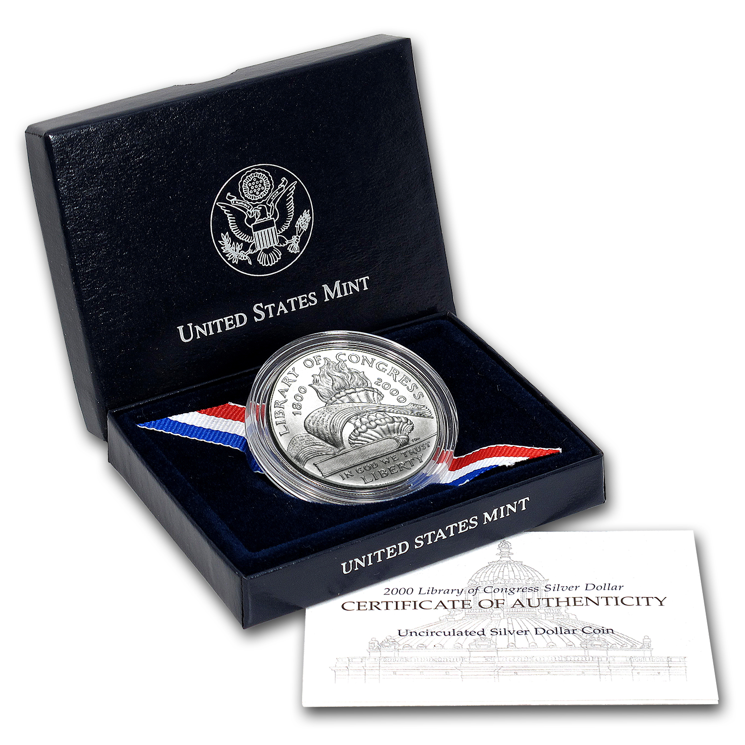2000-P Library of Congress $1 Silver Commem BU (w/Box & COA)