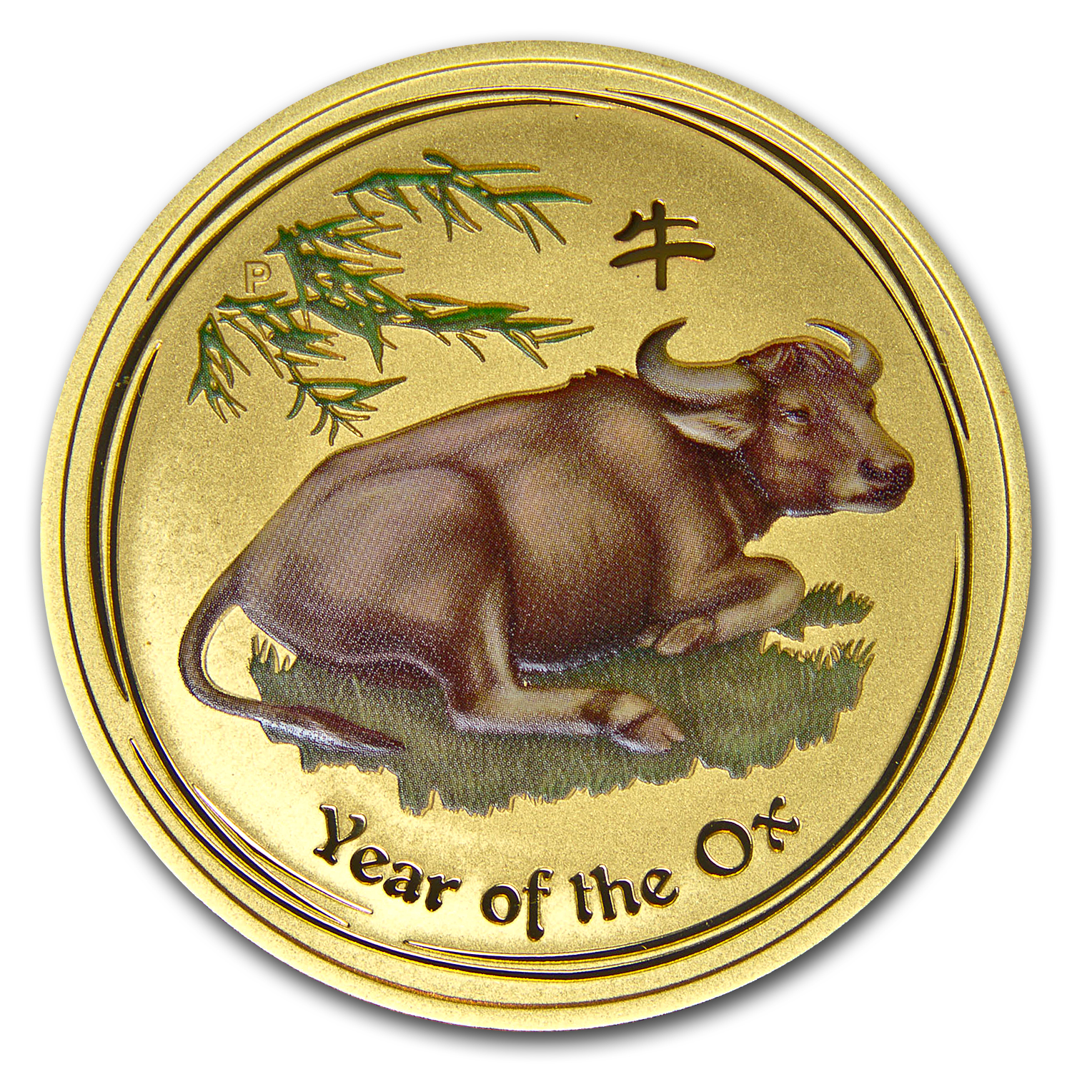 2009 Australia 1 oz Gold Lunar Ox BU (SII, Colorized)