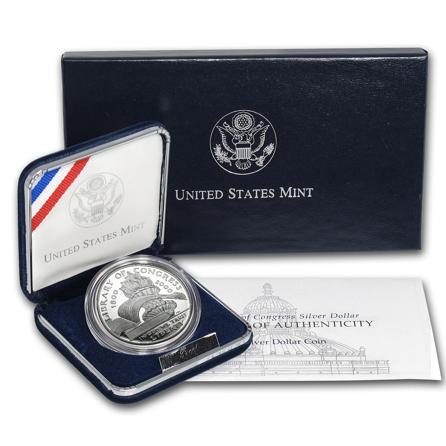 2000-P Library of Congress $1 Silver Commem Proof (w/Box & COA)
