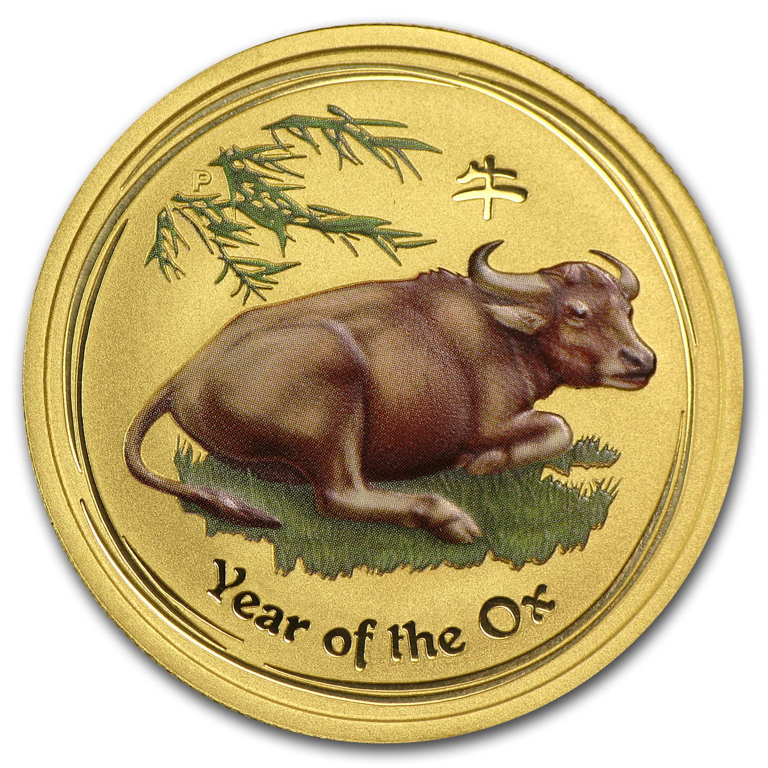 2009 1/2 oz Gold Lunar Year of the Ox BU (SII, Colorized)