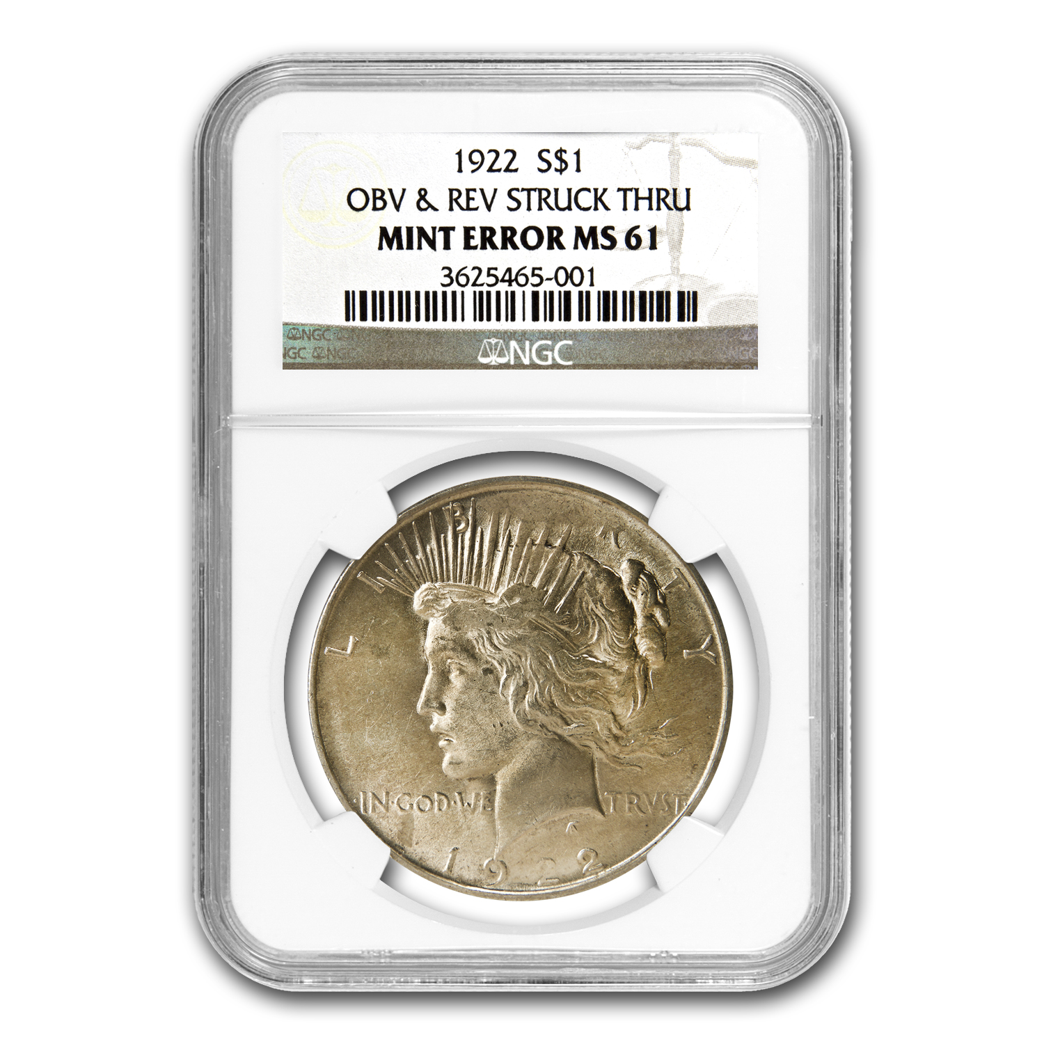 1922 Peace Dollar MS-61 NGC Struck Thru Grease Mint Error