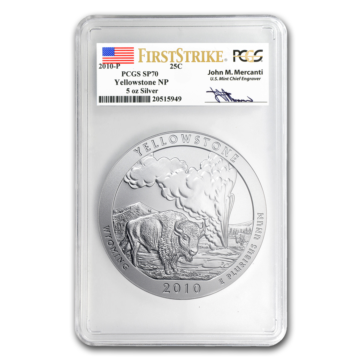 2010-P 5oz ATB Yellowstone PCGS SP-70 PCGS FS John Mercanti Label