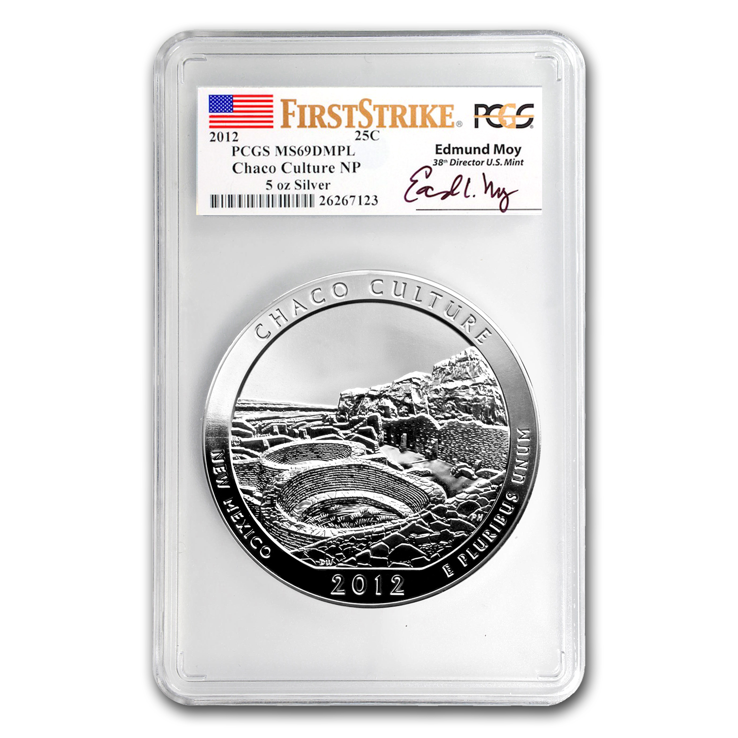2012 5 oz Silver ATB Chaco Culture MS-69 DMPL PCGS (FS, Moy)