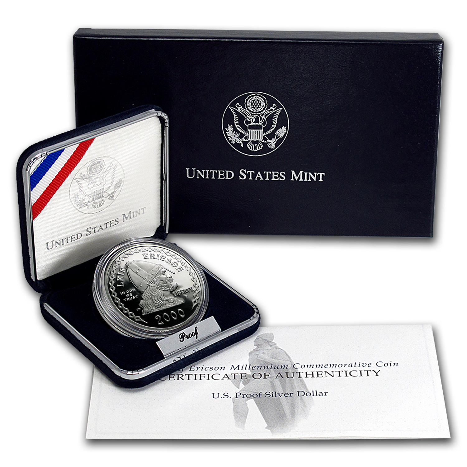 2000-P Leif Ericson $1 Silver Commem Proof (w/Box & COA)