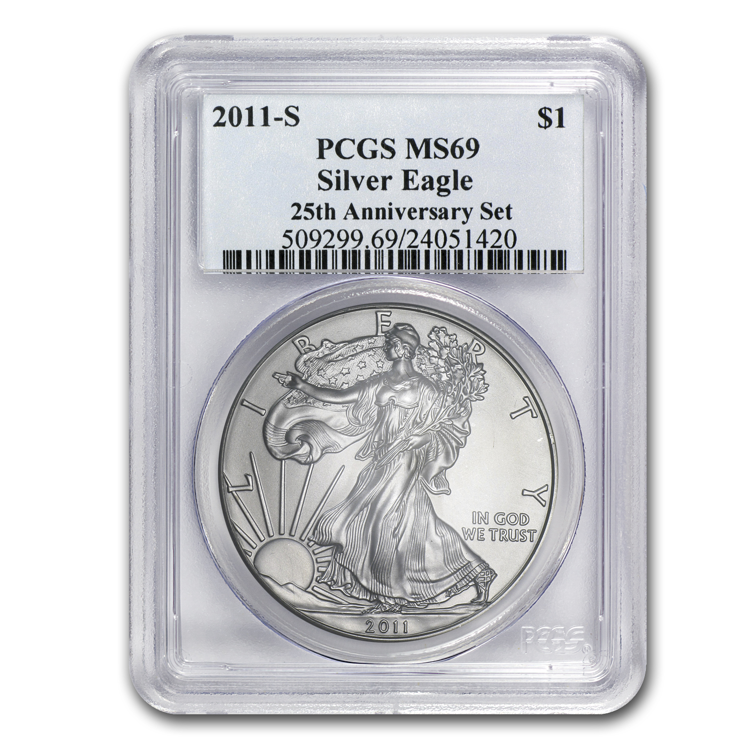 2011-S Silver American Eagle MS-69 PCGS (25th Anniv)