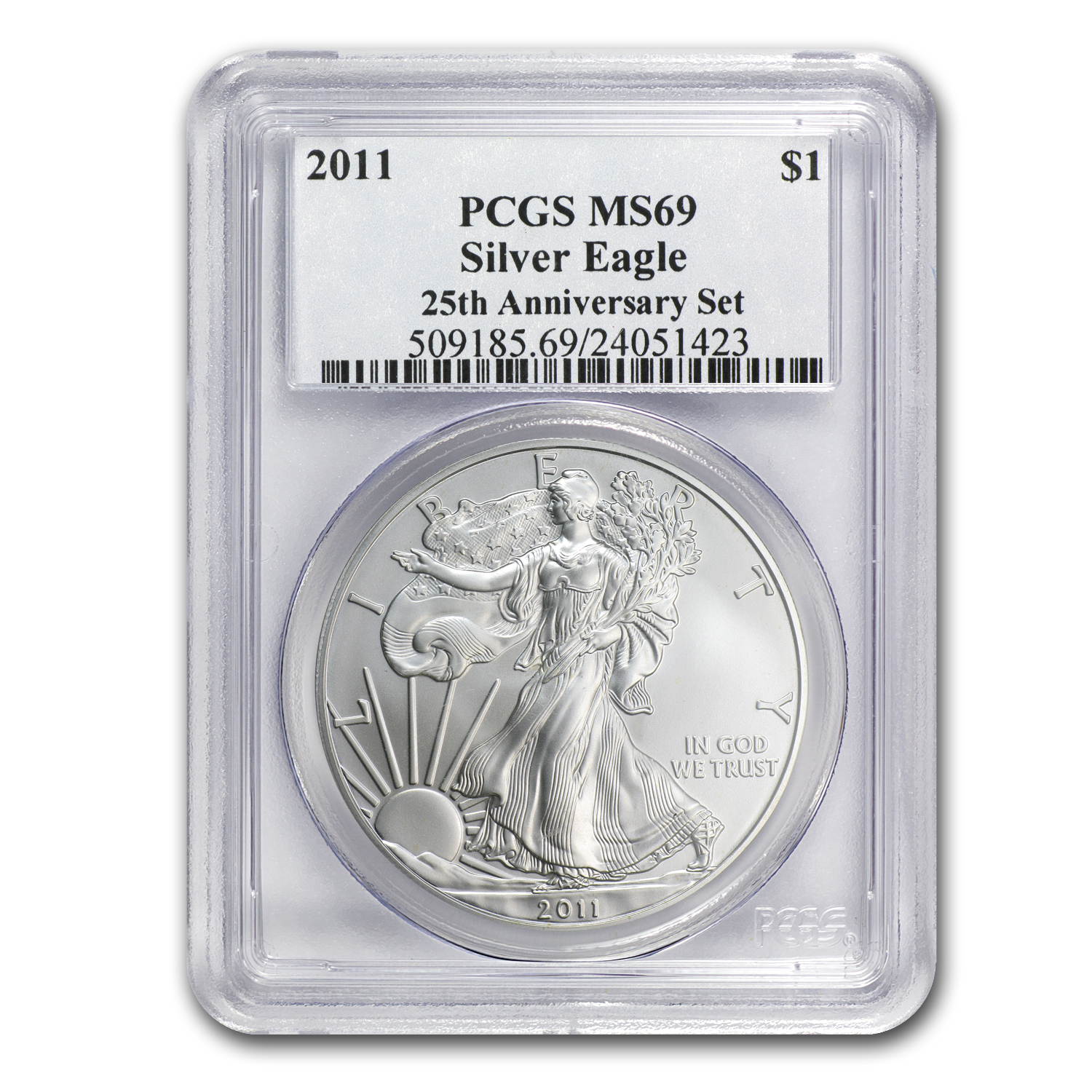 2011 Silver American Eagle MS-69 PCGS (25th Anniv)