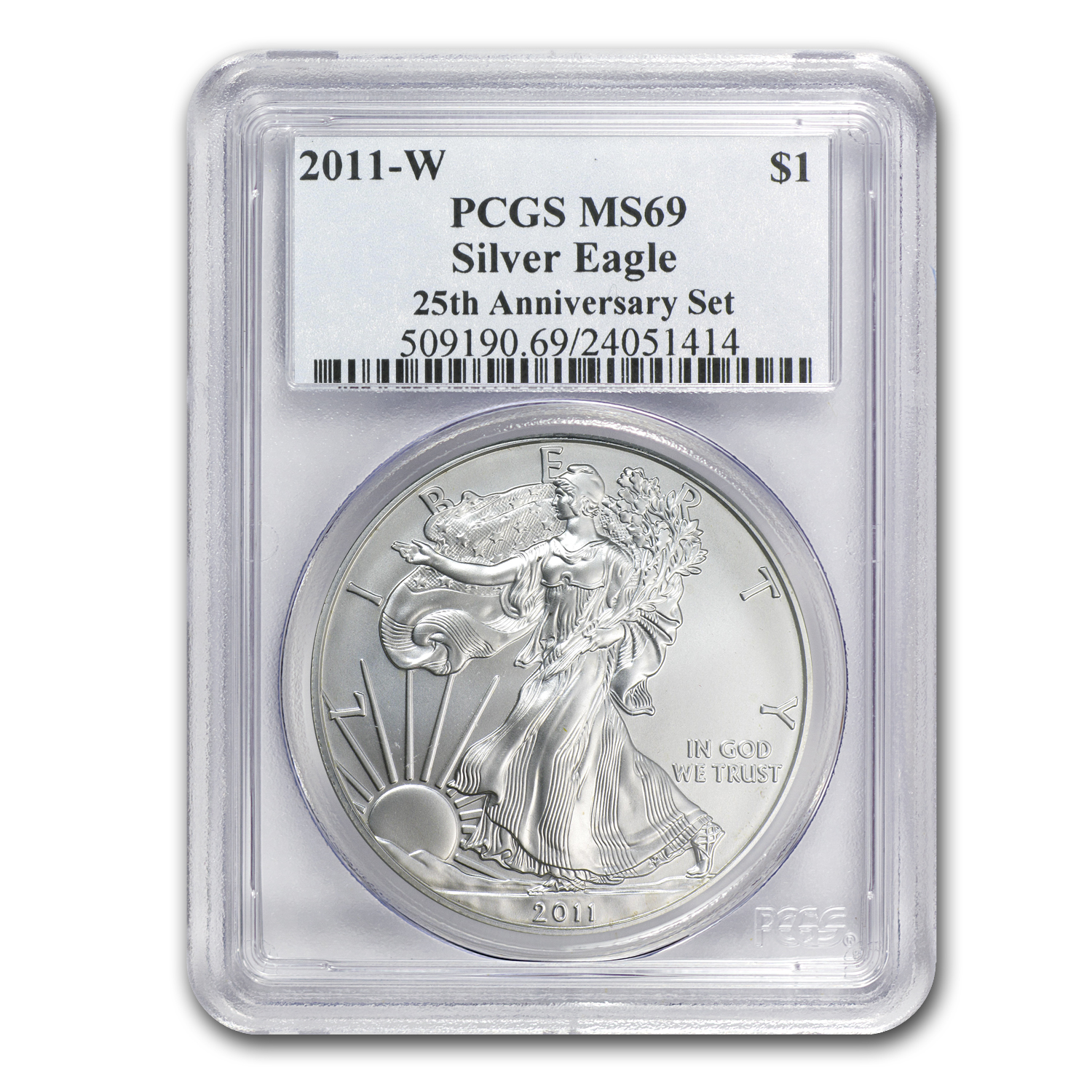2011-W Burnished Silver Eagle MS-69 PCGS (25th Anniv, Blue Label)