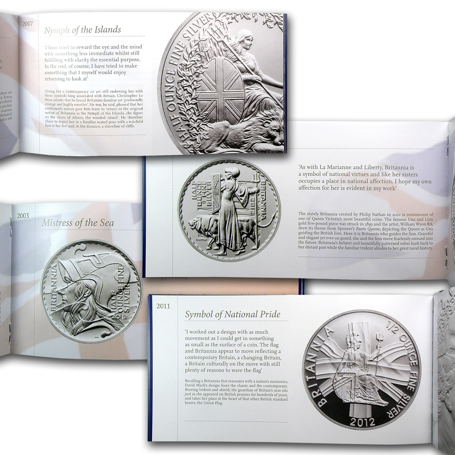 2012 GB 9-Coin Britannia 25th Anniv. Silver Portrait Proof Set