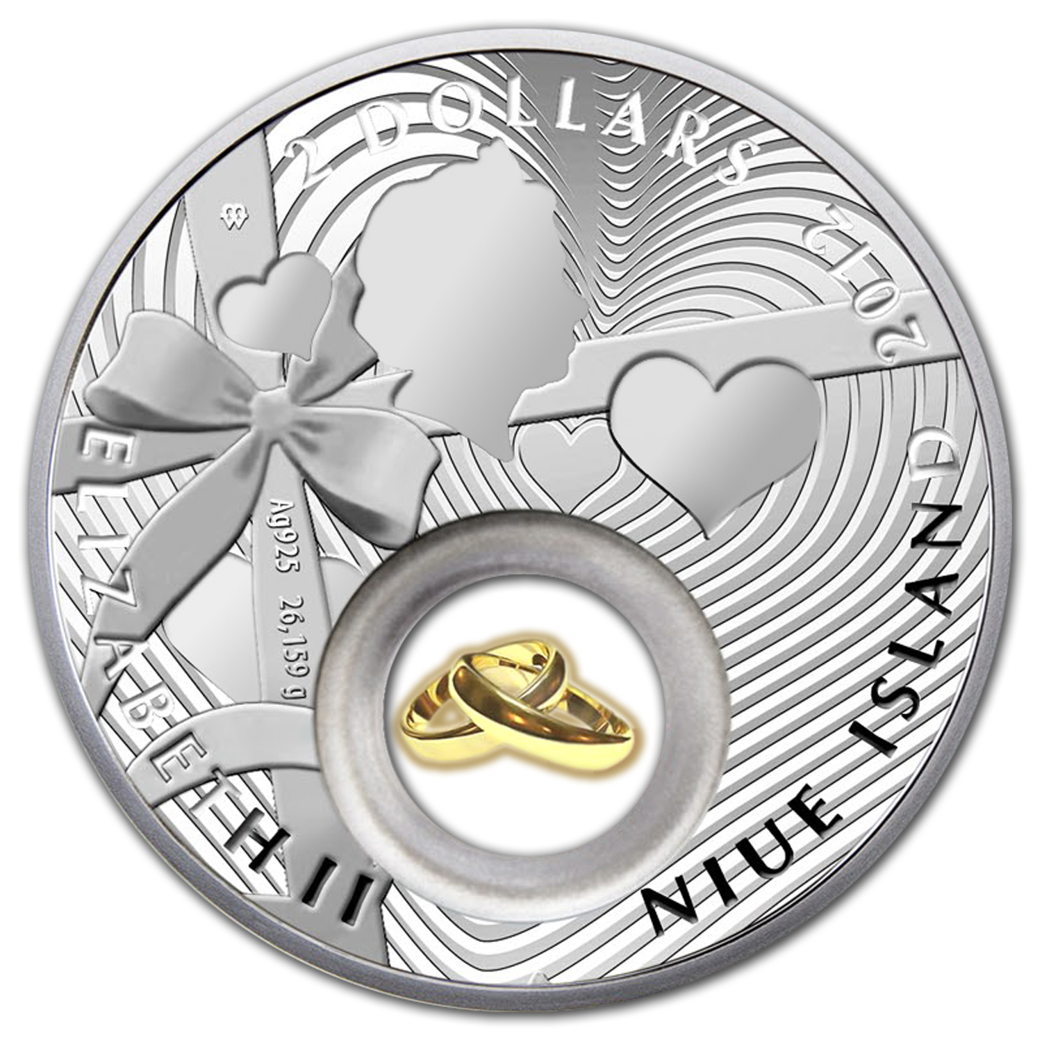 2012 Niue Proof Silver $2 Wedding