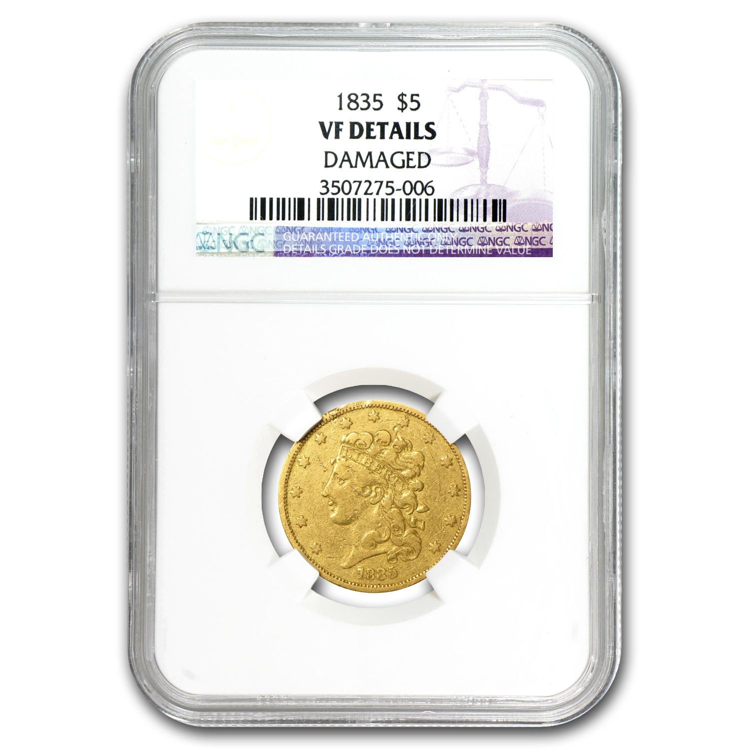 1835 $5 Gold Classic Head Half Eagle VF Details NGC (Cleaned)