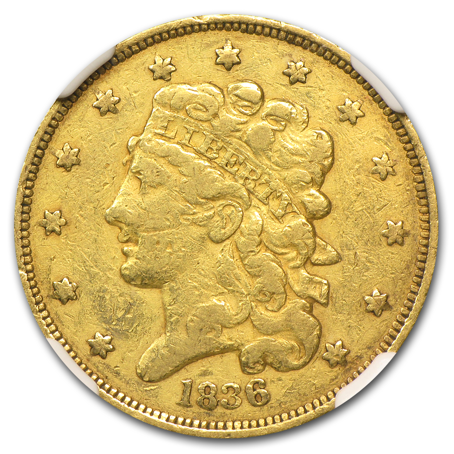 1836 $5 Gold Classic Head Half Eagle - VF Details NGC - (Scratch)
