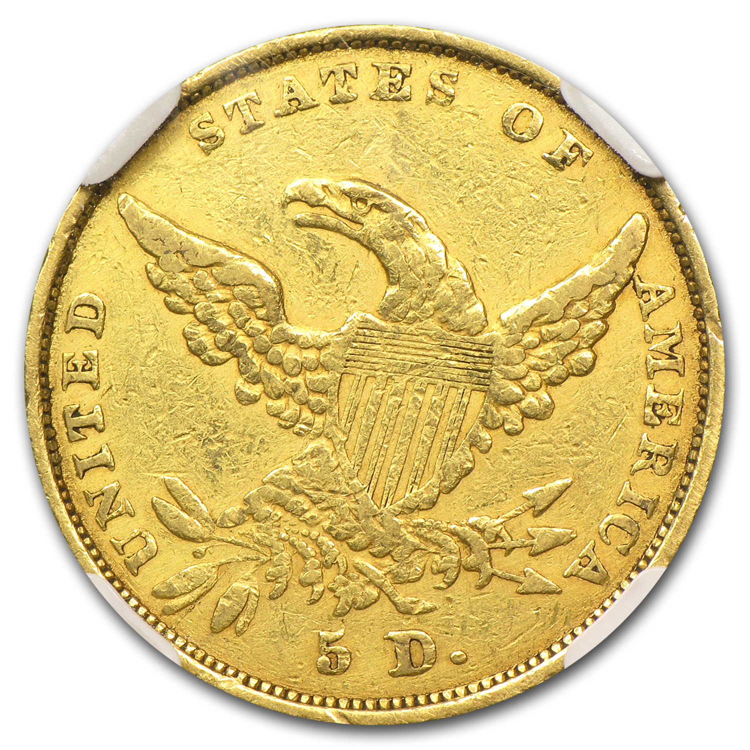 1836 $5 Gold Classic Head Half Eagle VF Details NGC (Scratch)