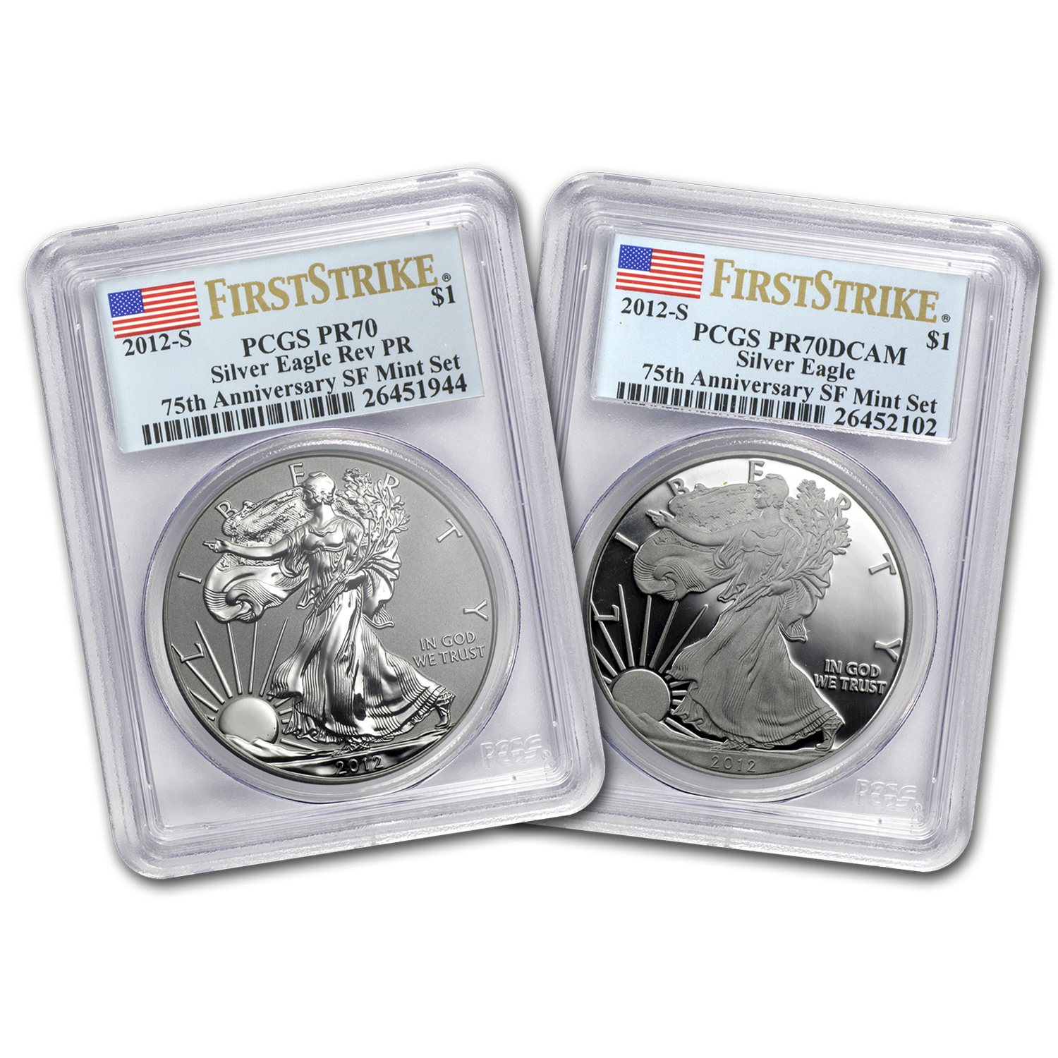 2012-S 2-Coin Silver Eagle Set PR-70 PCGS (FS, 75th Anniv)